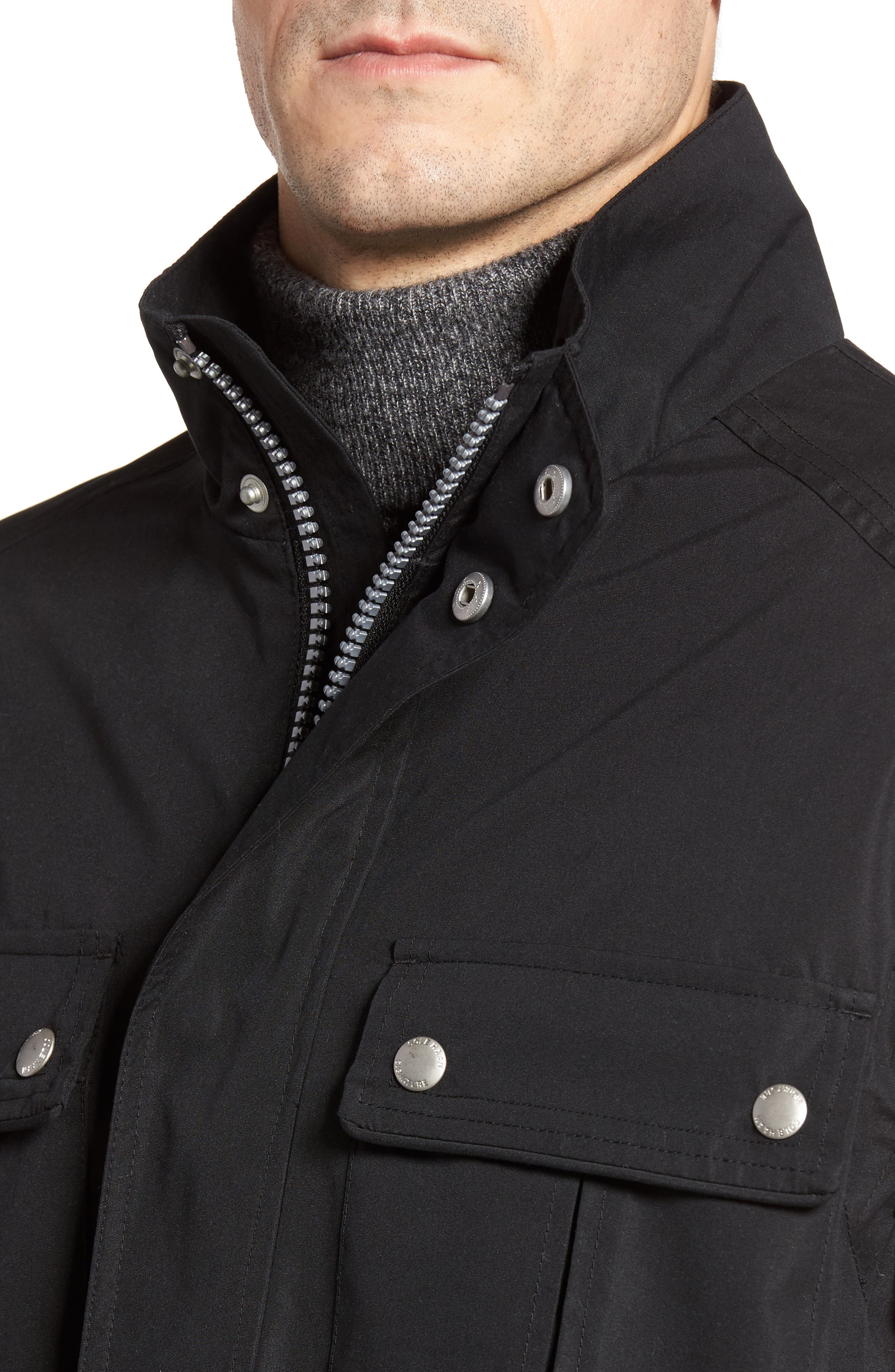 Stand Collar Water Repellent Jacket,                             Alternate thumbnail 4, color,                             001