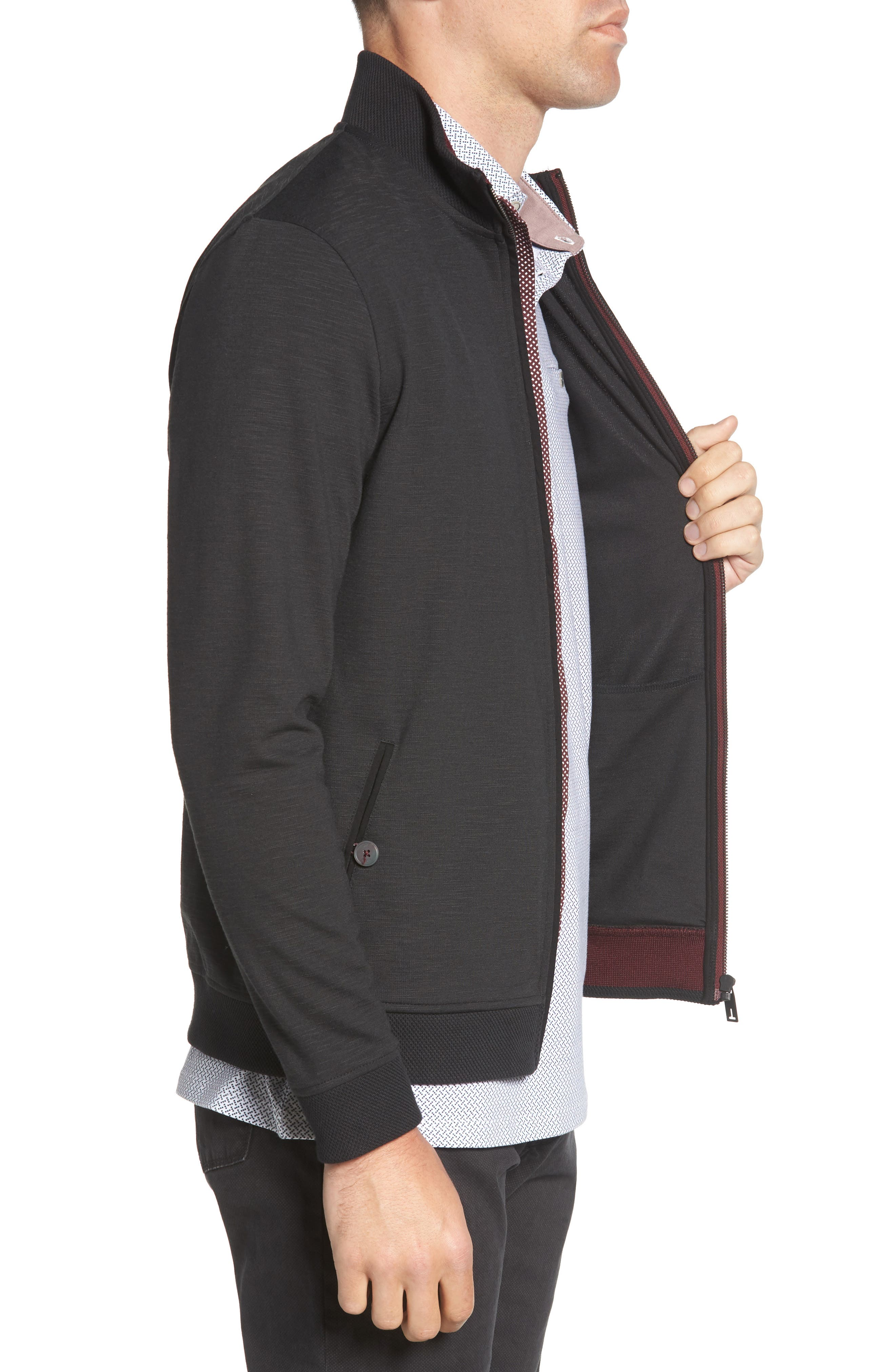Jam Trim Fit Jacket,                             Alternate thumbnail 3, color,                             001