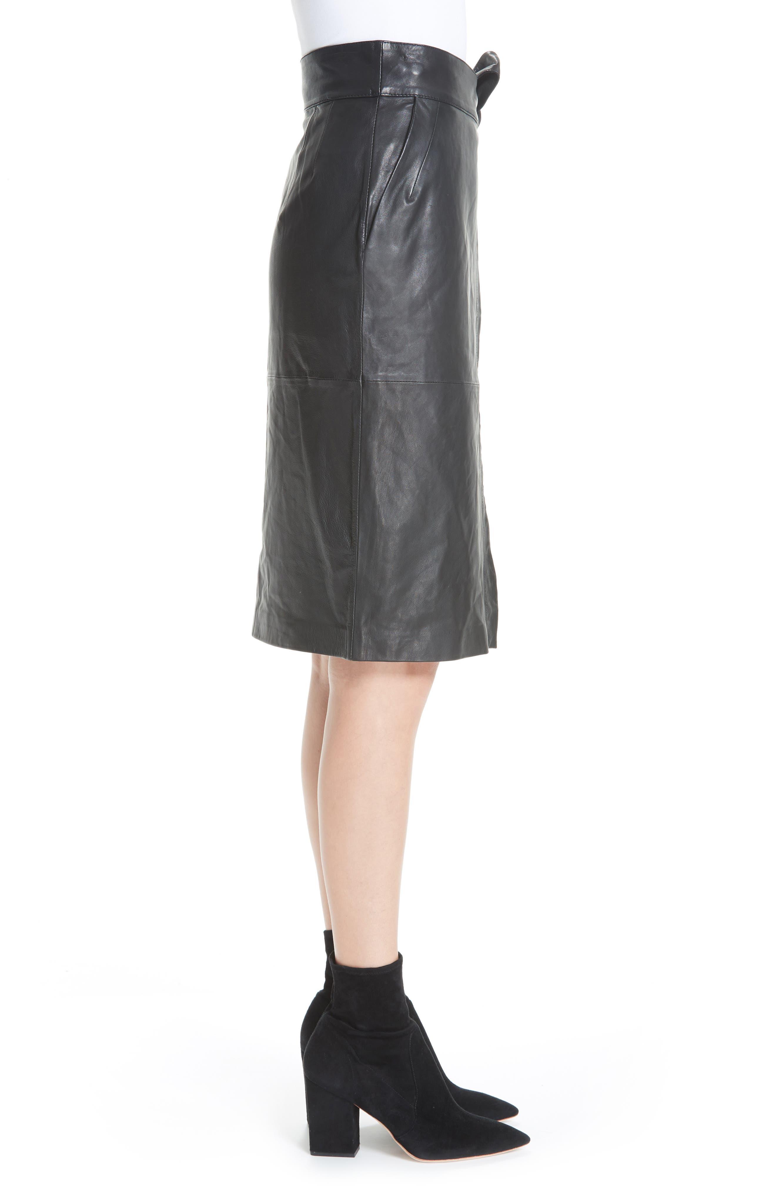 Magic Wrap Leather Skirt,                             Alternate thumbnail 3, color,                             BLACK