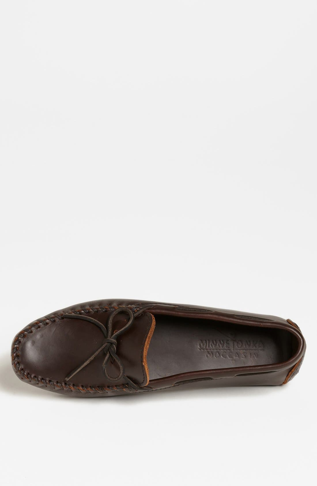 Leather Driving Shoe,                             Alternate thumbnail 4, color,                             DARK BROWN LARIAT