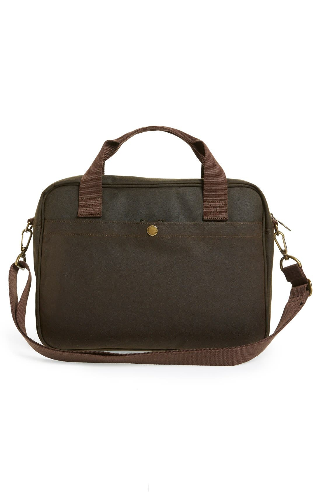 'Longthorpe' Waxed Canvas Laptop Bag,                             Alternate thumbnail 3, color,                             340