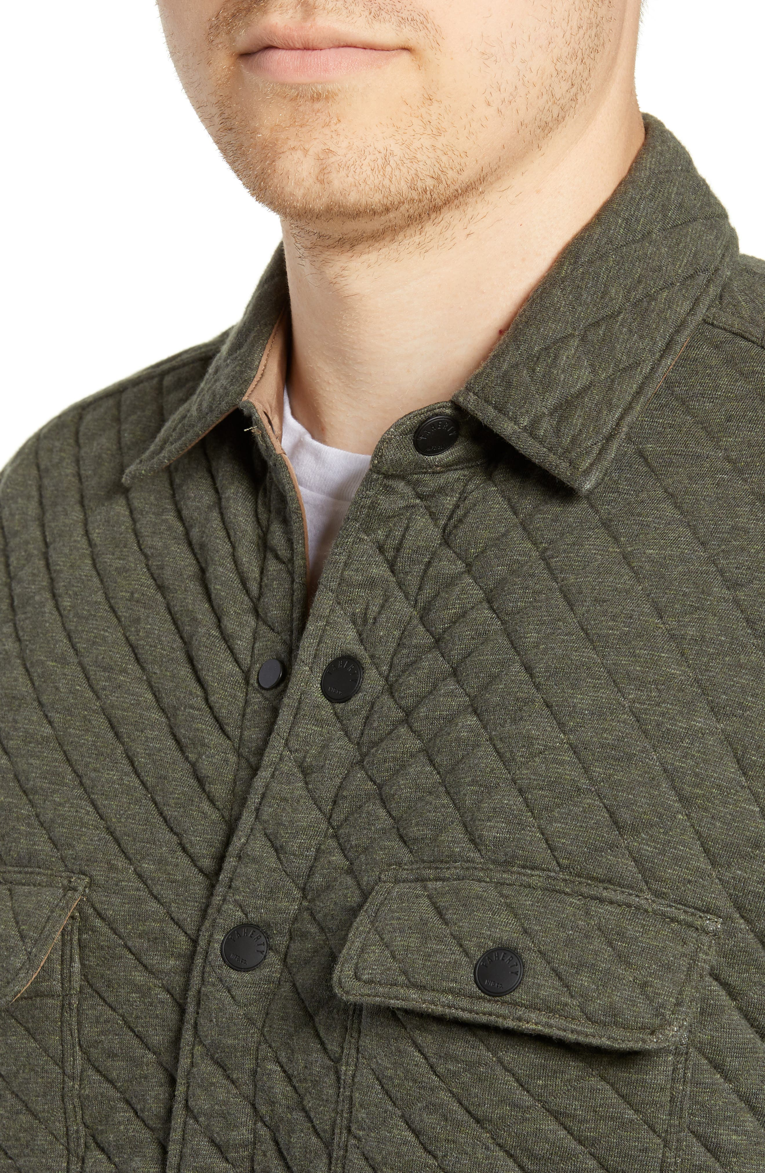 FAHERTY,                             Belmar Quilted Shirt Jacket,                             Alternate thumbnail 4, color,                             OLIVE HEATHER