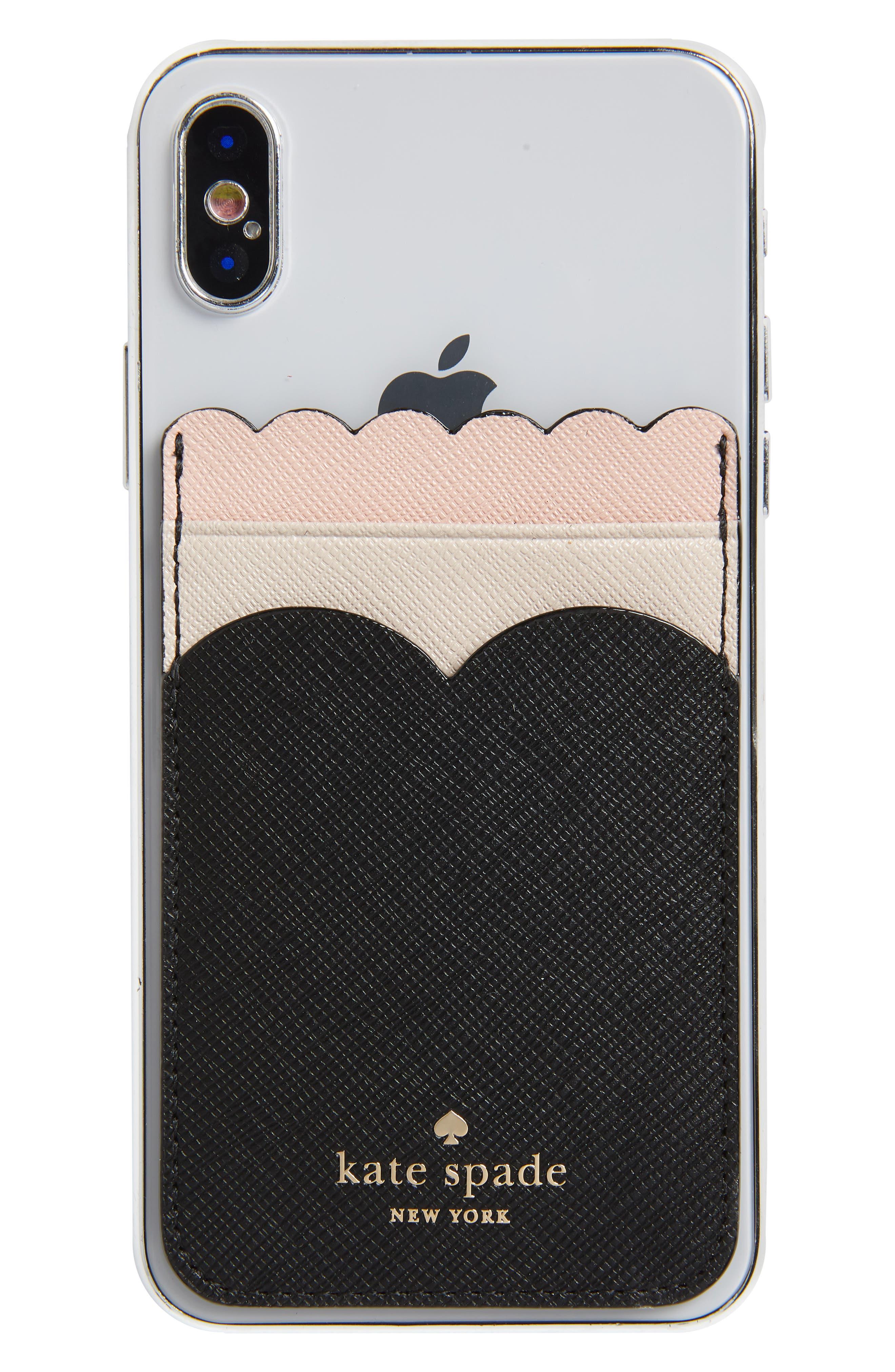 phone triple sticker scalloped glitter pocket,                         Main,                         color, BLACK/ MULTI