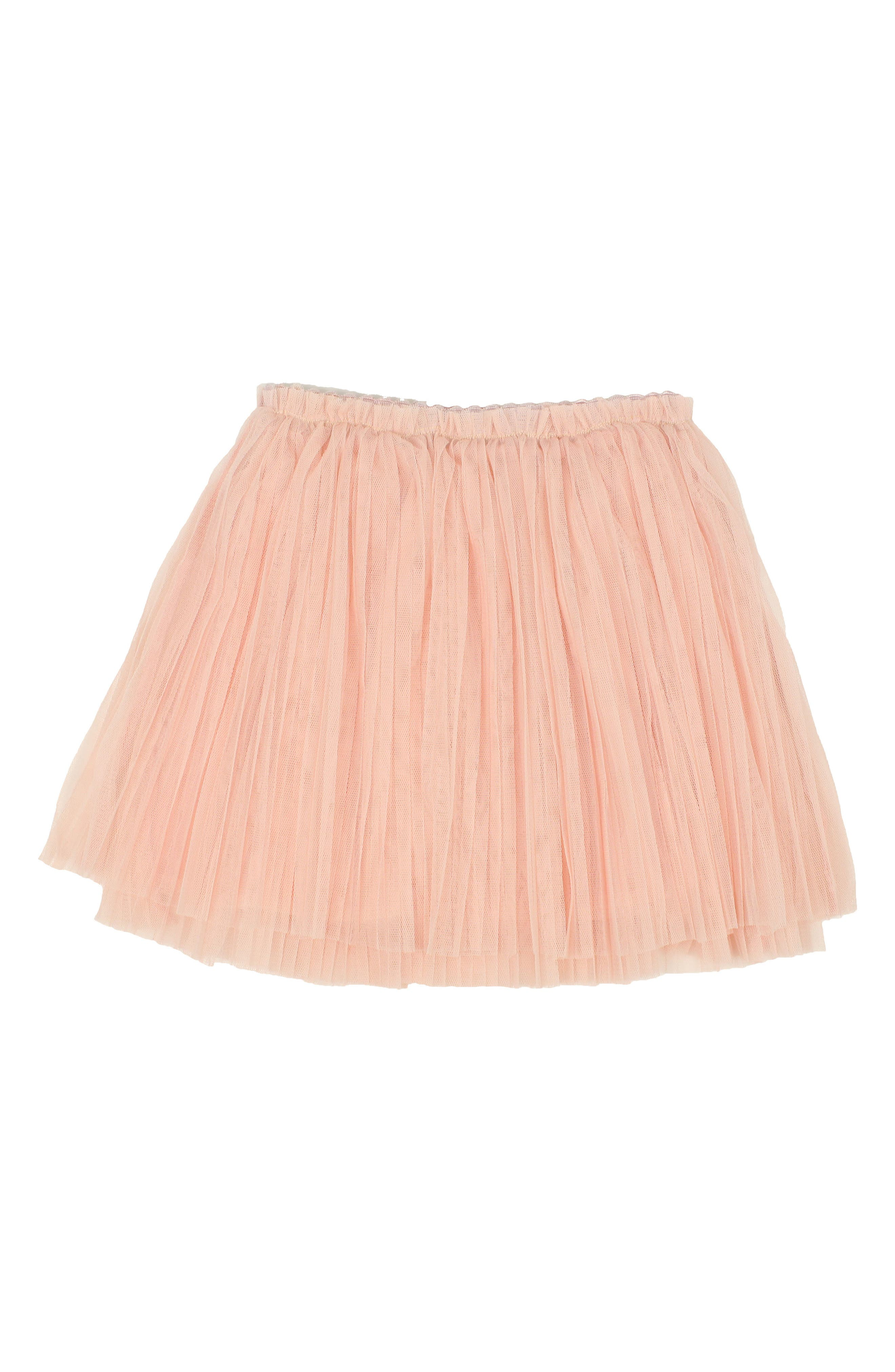 Pleated Tulle Skirt,                         Main,                         color, PEACH