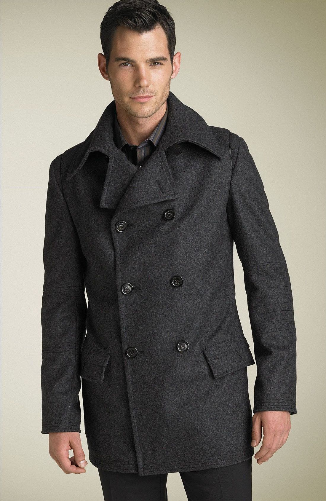 VERSACE Collection Wool Peacoat, Main, color, 020