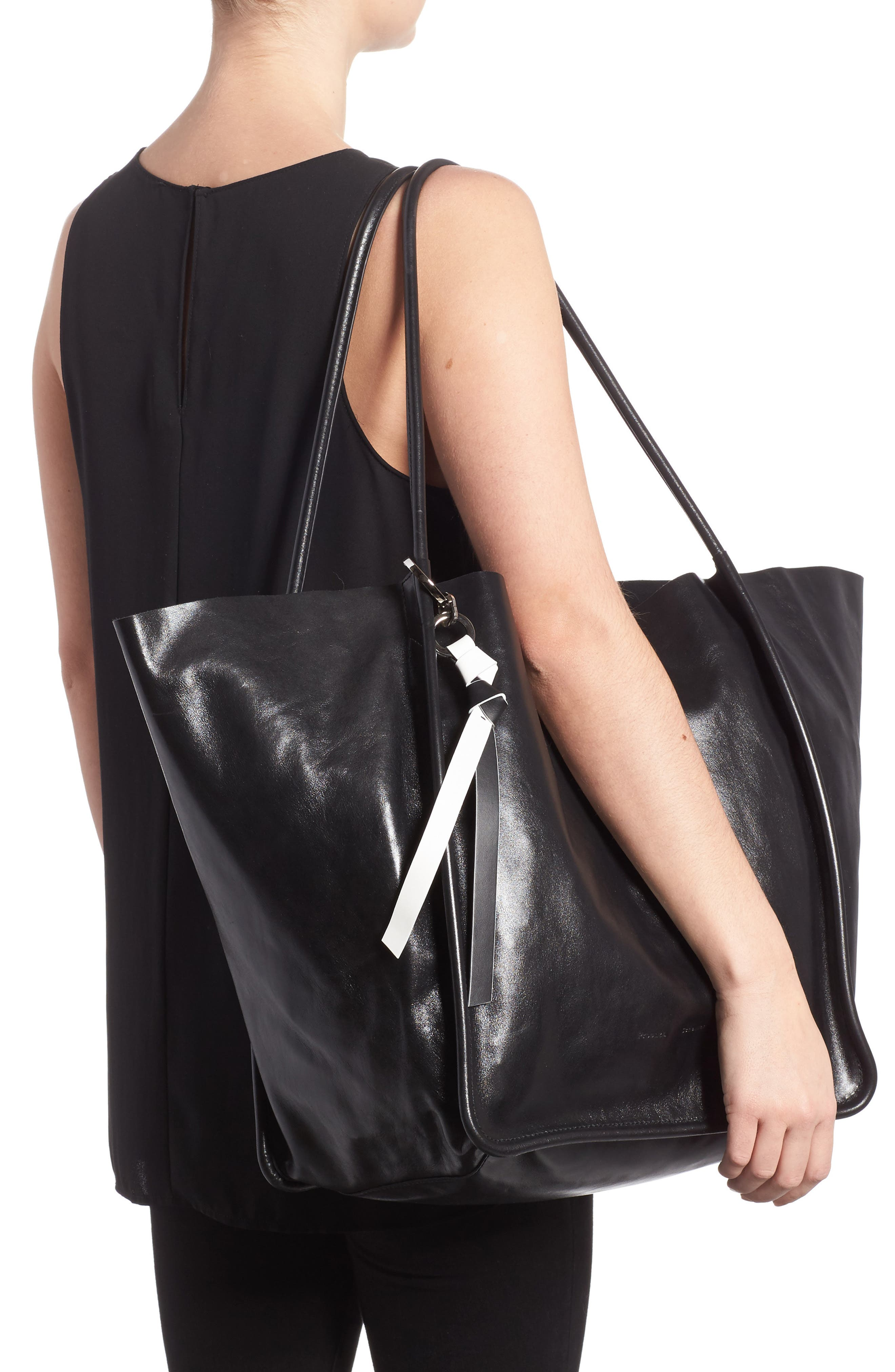 Extra Large Leather Tote,                             Alternate thumbnail 2, color,                             BLACK