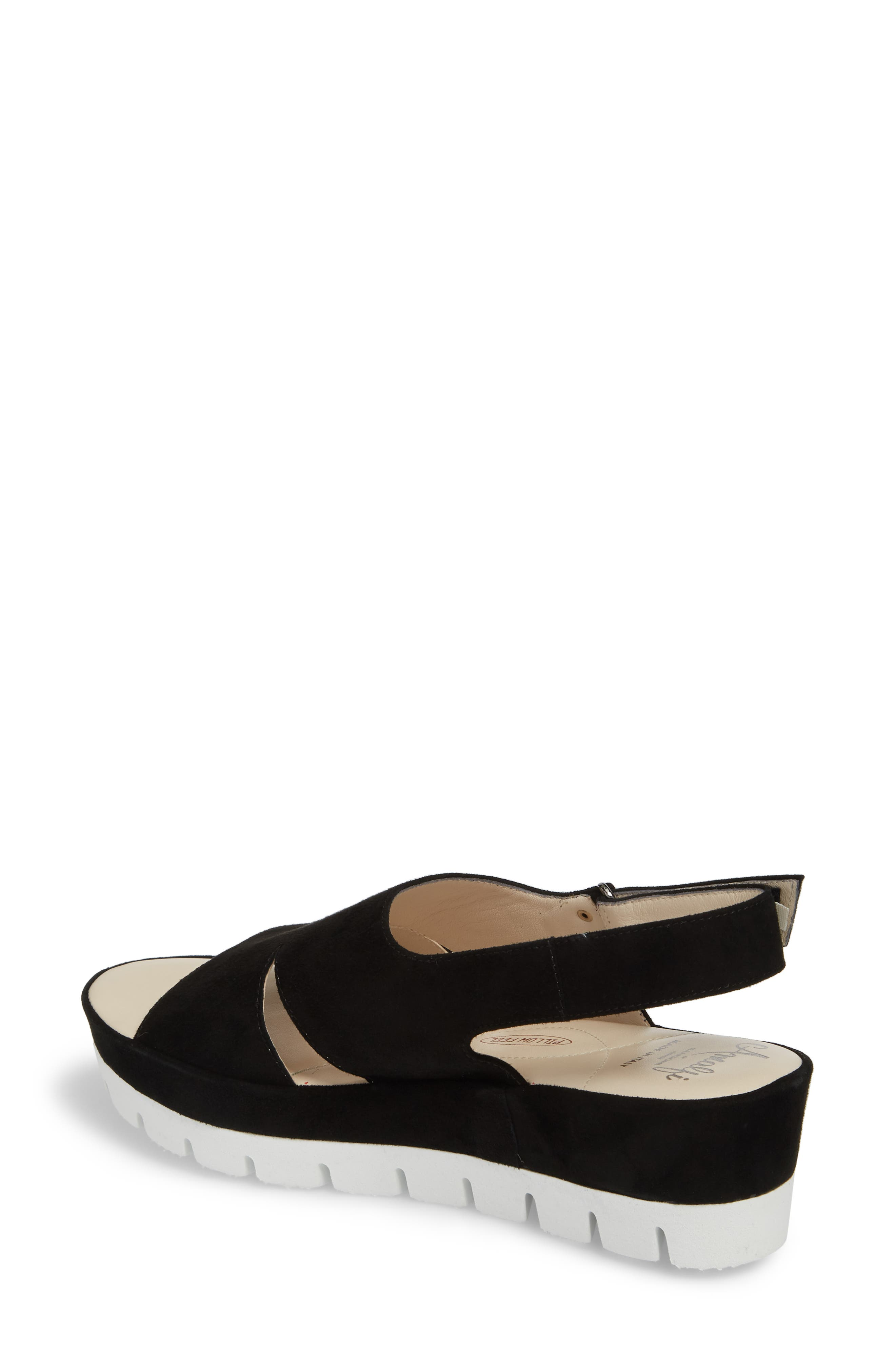 Bergamotto Slingback Wedge Sandal,                             Alternate thumbnail 2, color,                             BLACK SUEDE