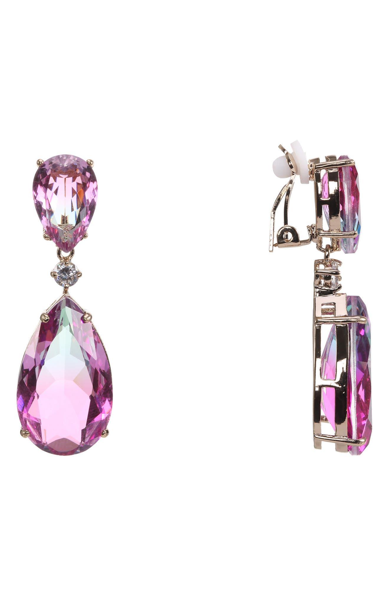 Double Drop Earrings,                             Main thumbnail 1, color,                             AMETHYST/ AQUA/ SILVER