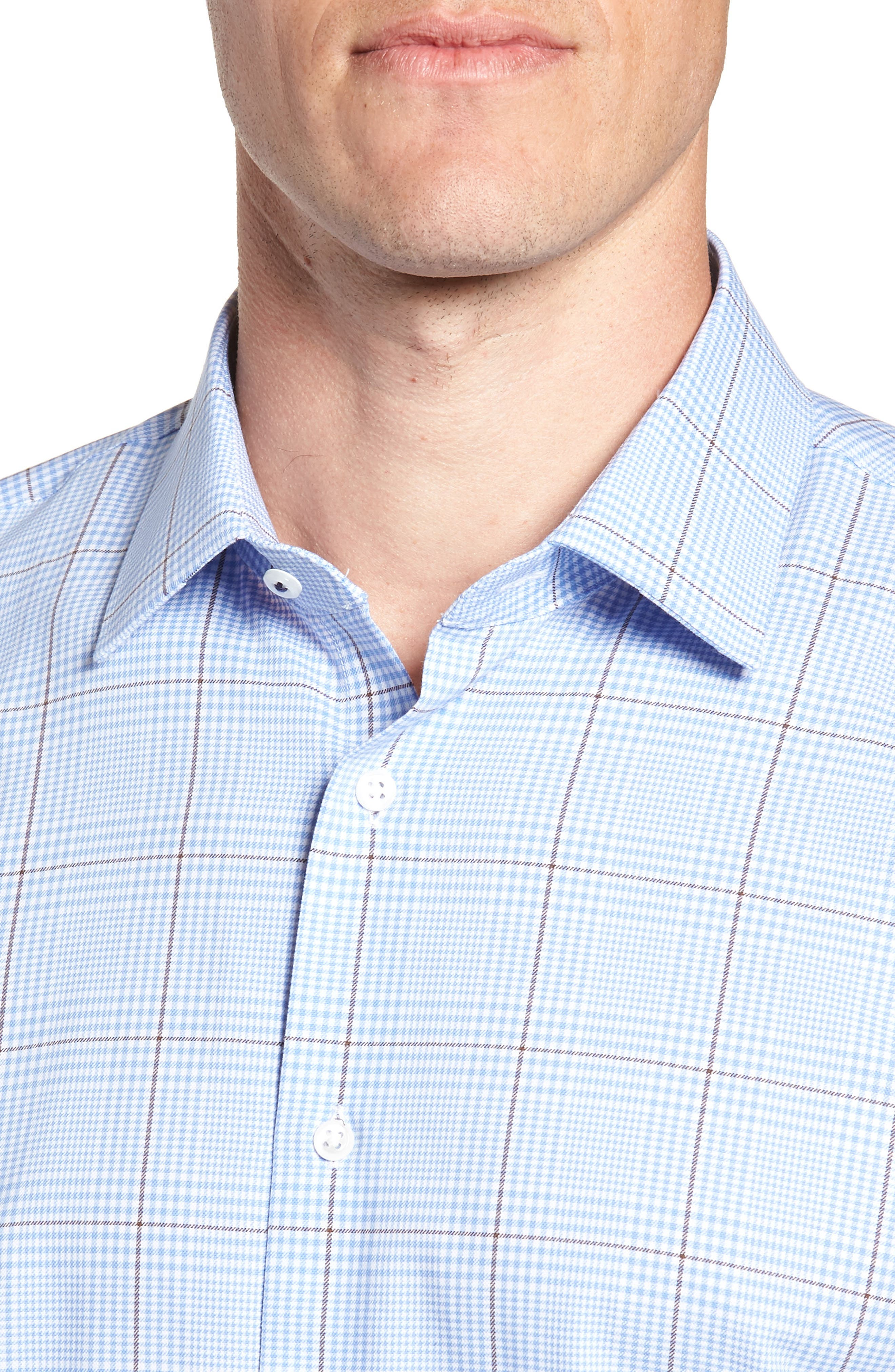 Tech-Smart Trim Fit Stretch Plaid Dress Shirt,                             Alternate thumbnail 2, color,                             BLUE HAZE
