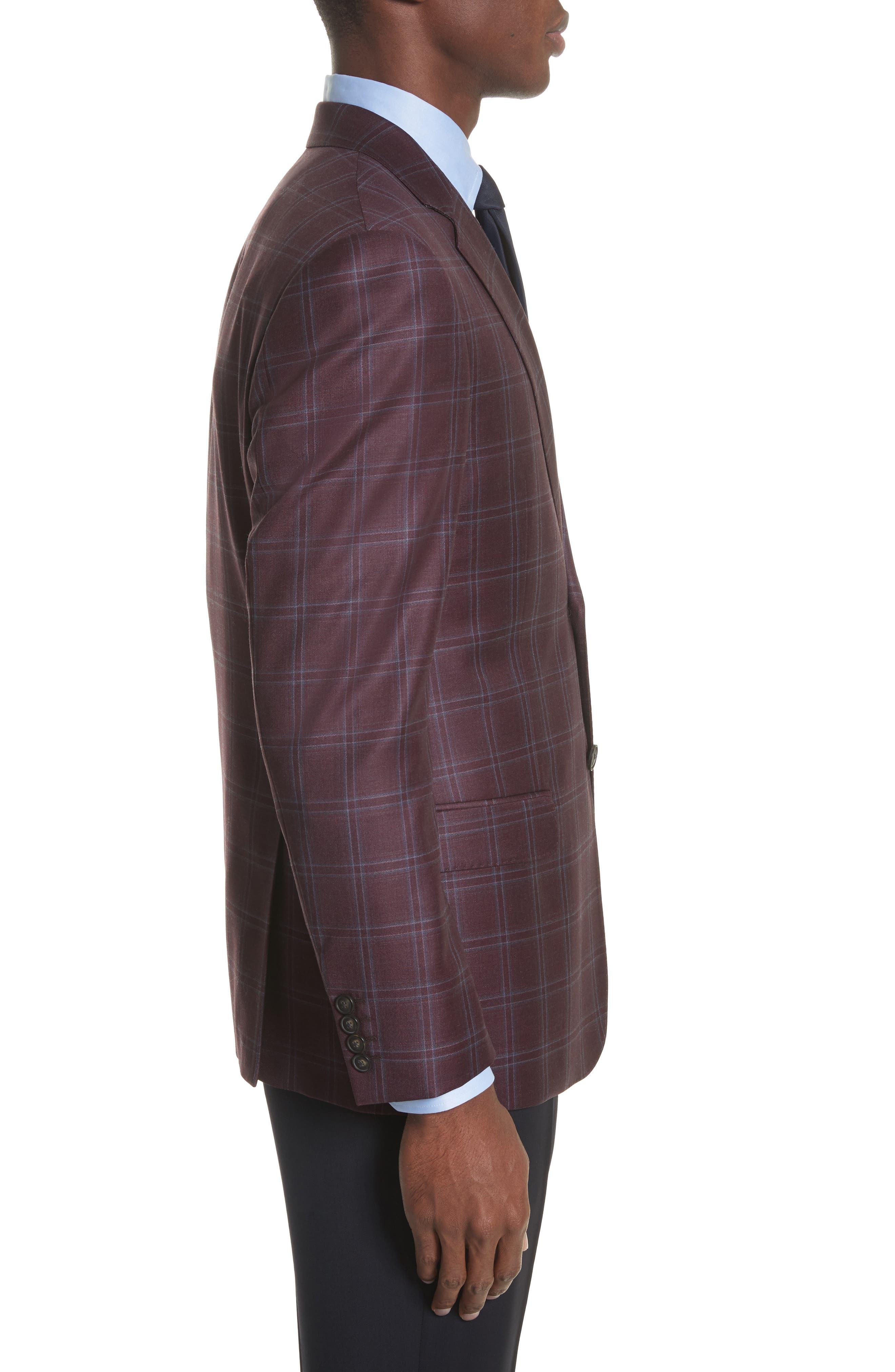 G Line Trim Fit Windowpane Wool Sport Coat,                             Alternate thumbnail 3, color,                             604