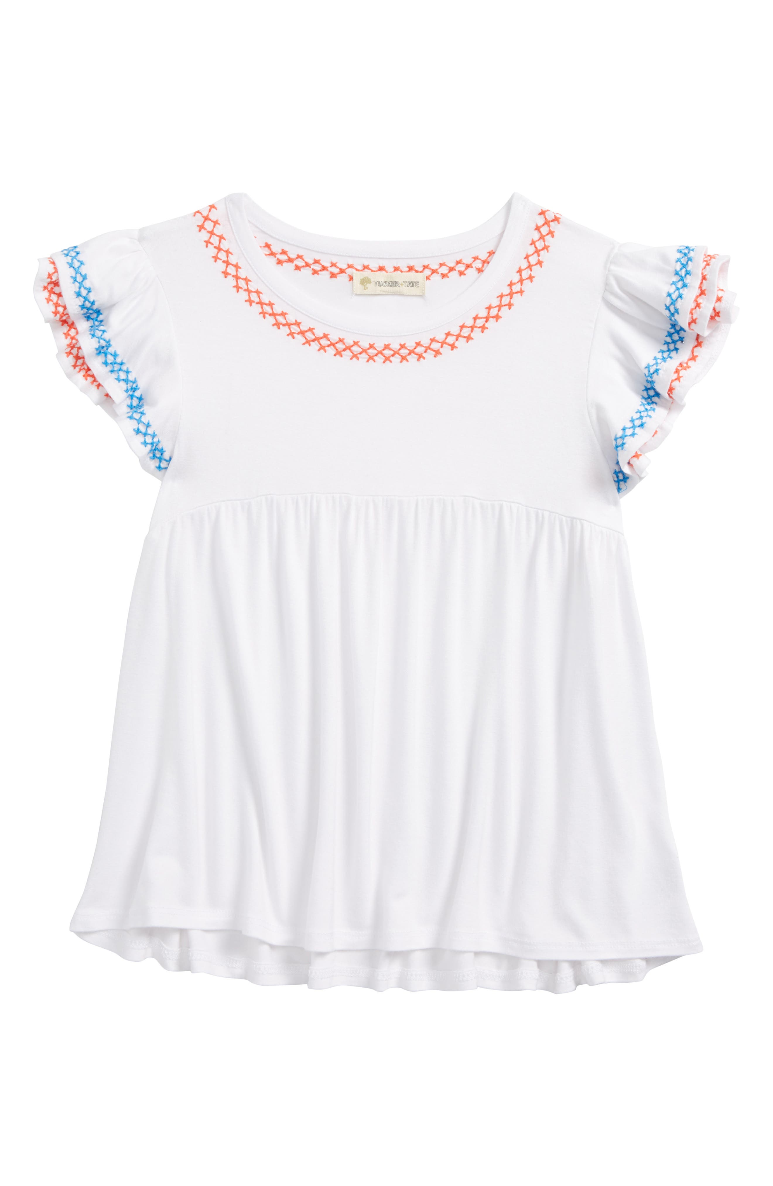 Ruffle Embroidered Tee,                             Main thumbnail 1, color,                             100