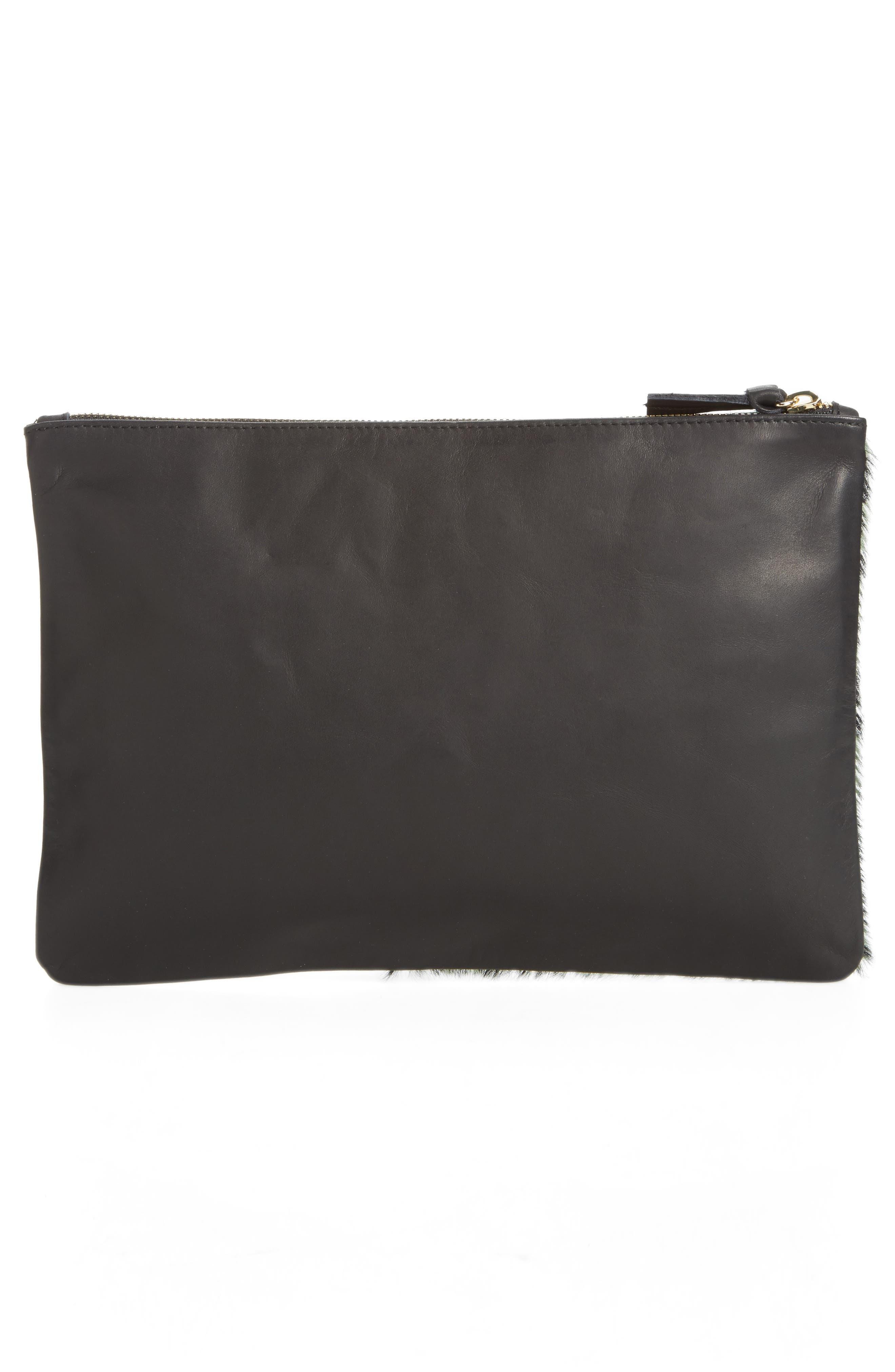 Colorblock Leather & Genuine Calf Hair Flat Clutch,                             Alternate thumbnail 3, color,