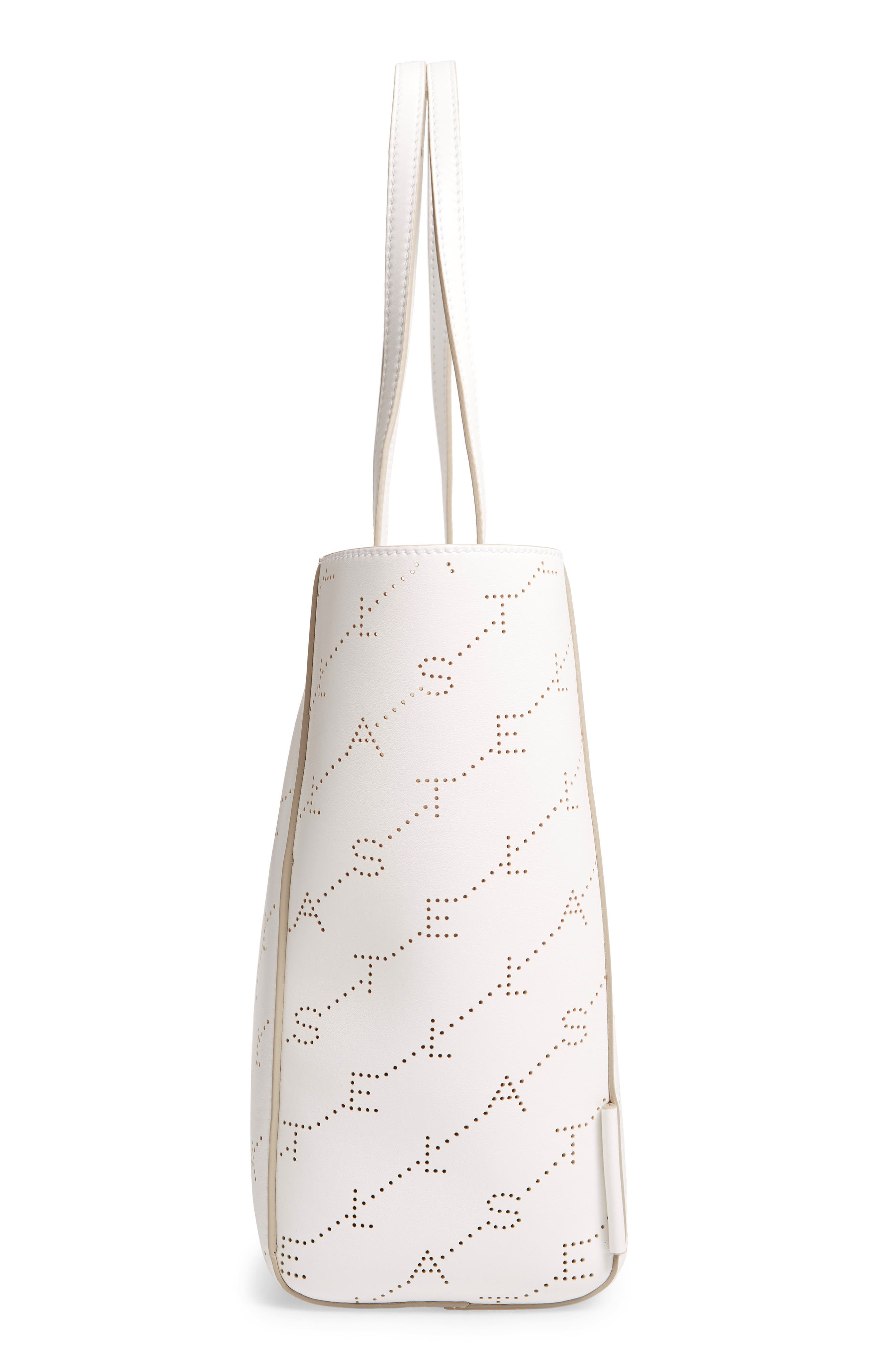Small Logo Faux Leather Tote,                             Alternate thumbnail 5, color,                             OPTICAL WHITE