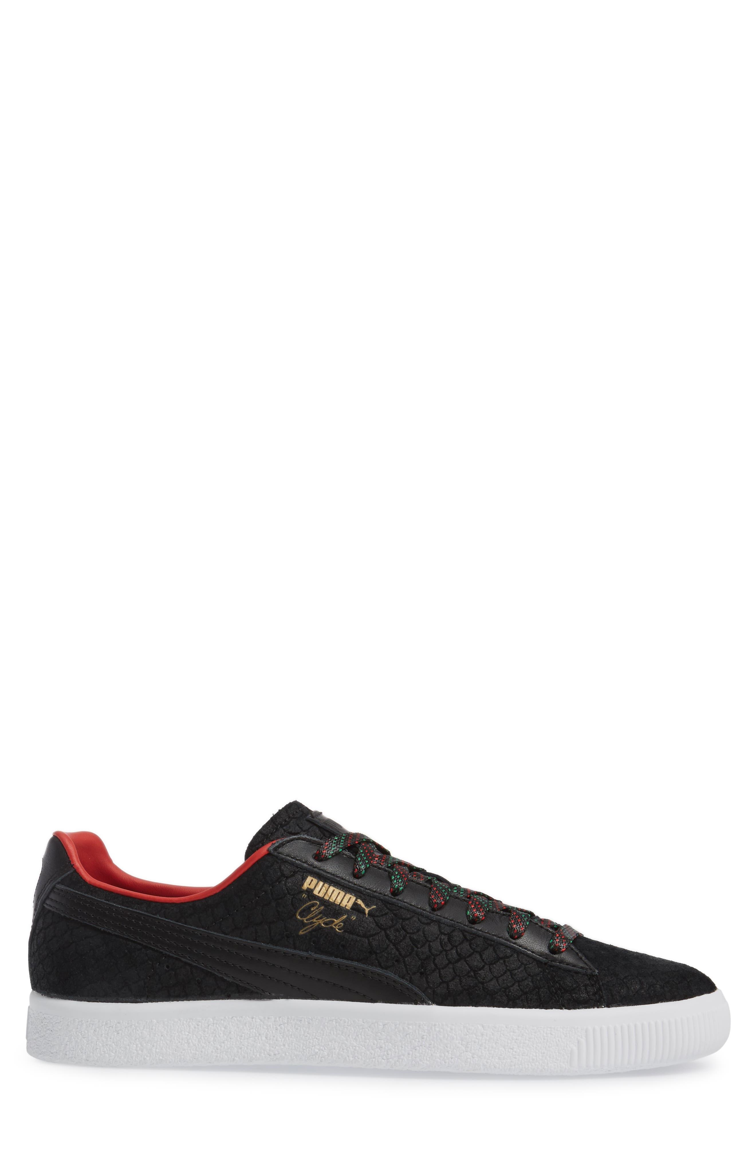 Clyde GCC Sneaker,                             Alternate thumbnail 3, color,                             001