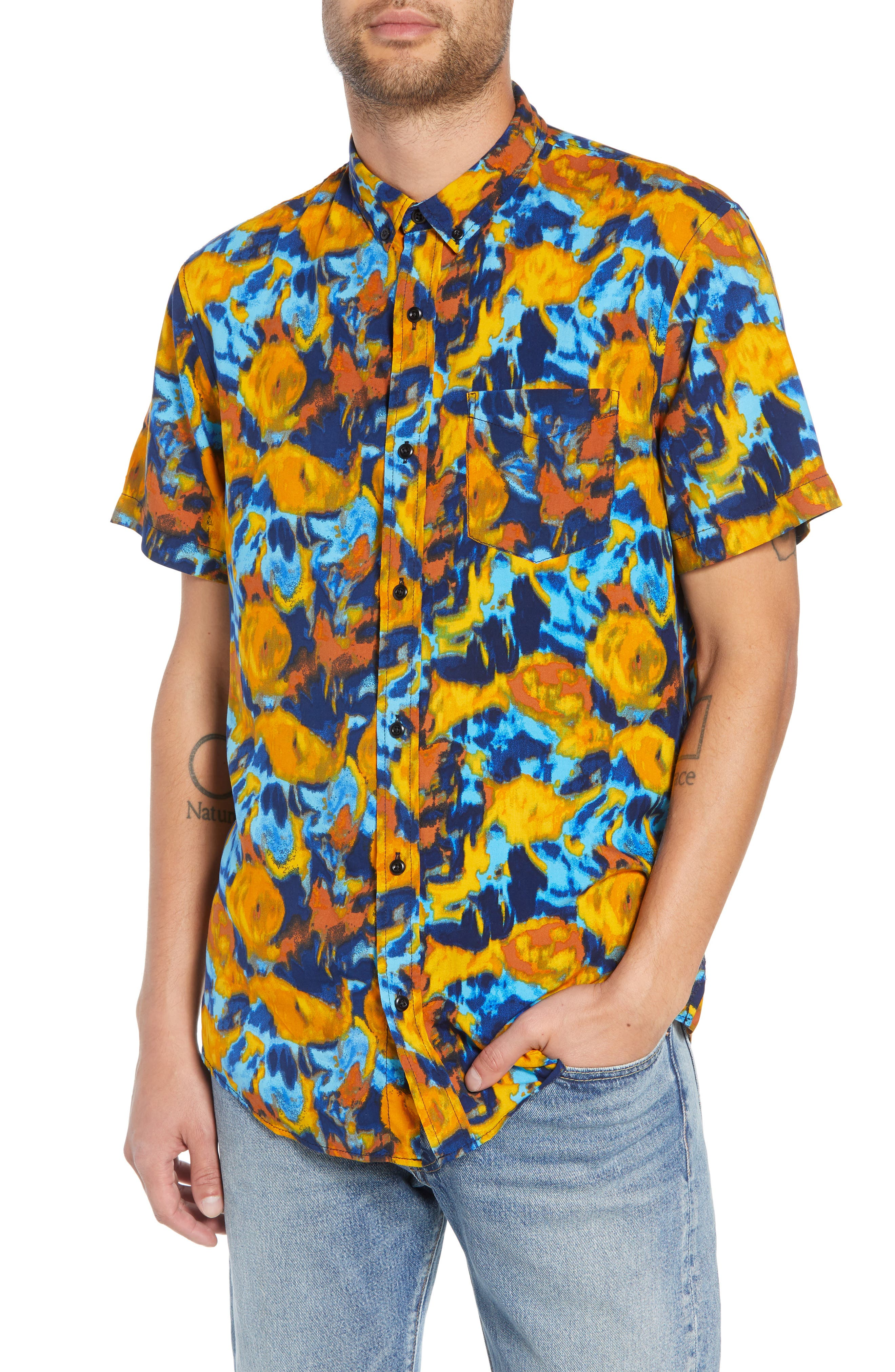 The Rail Print Short Sleeve Sport Shirt, Blue