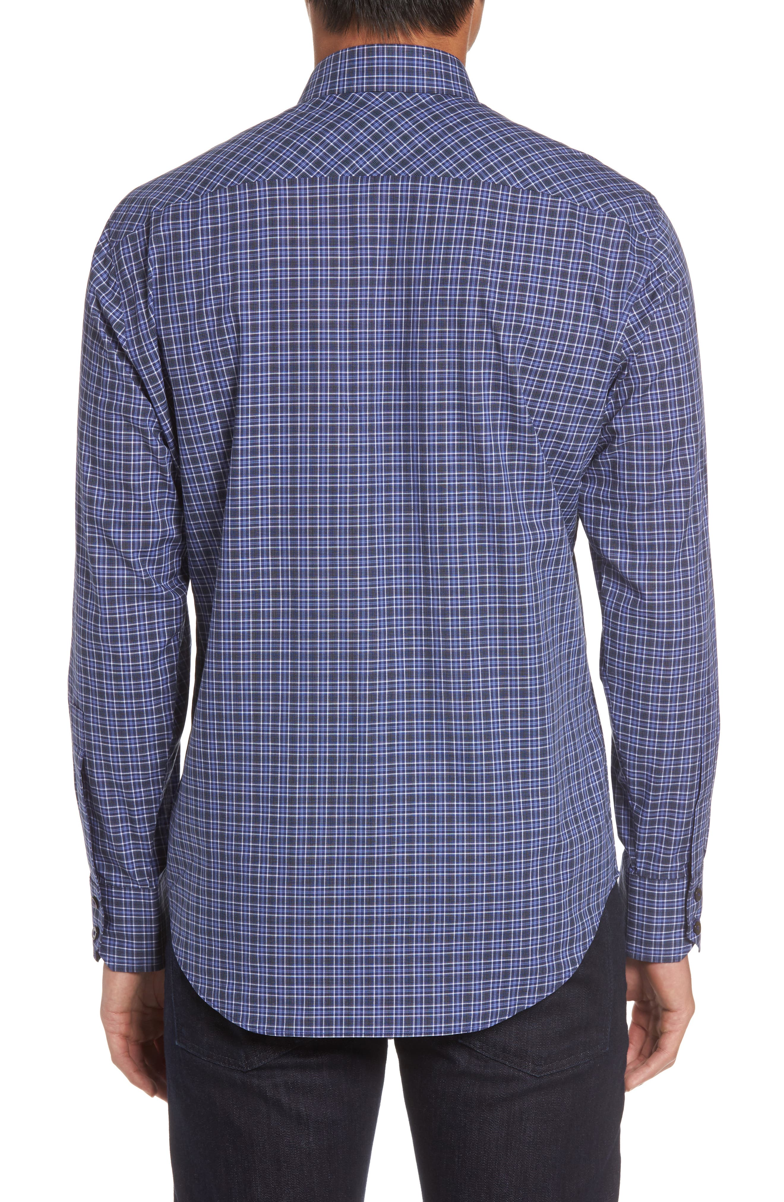 Barnum Slim Fit Check Sport Shirt,                             Alternate thumbnail 2, color,