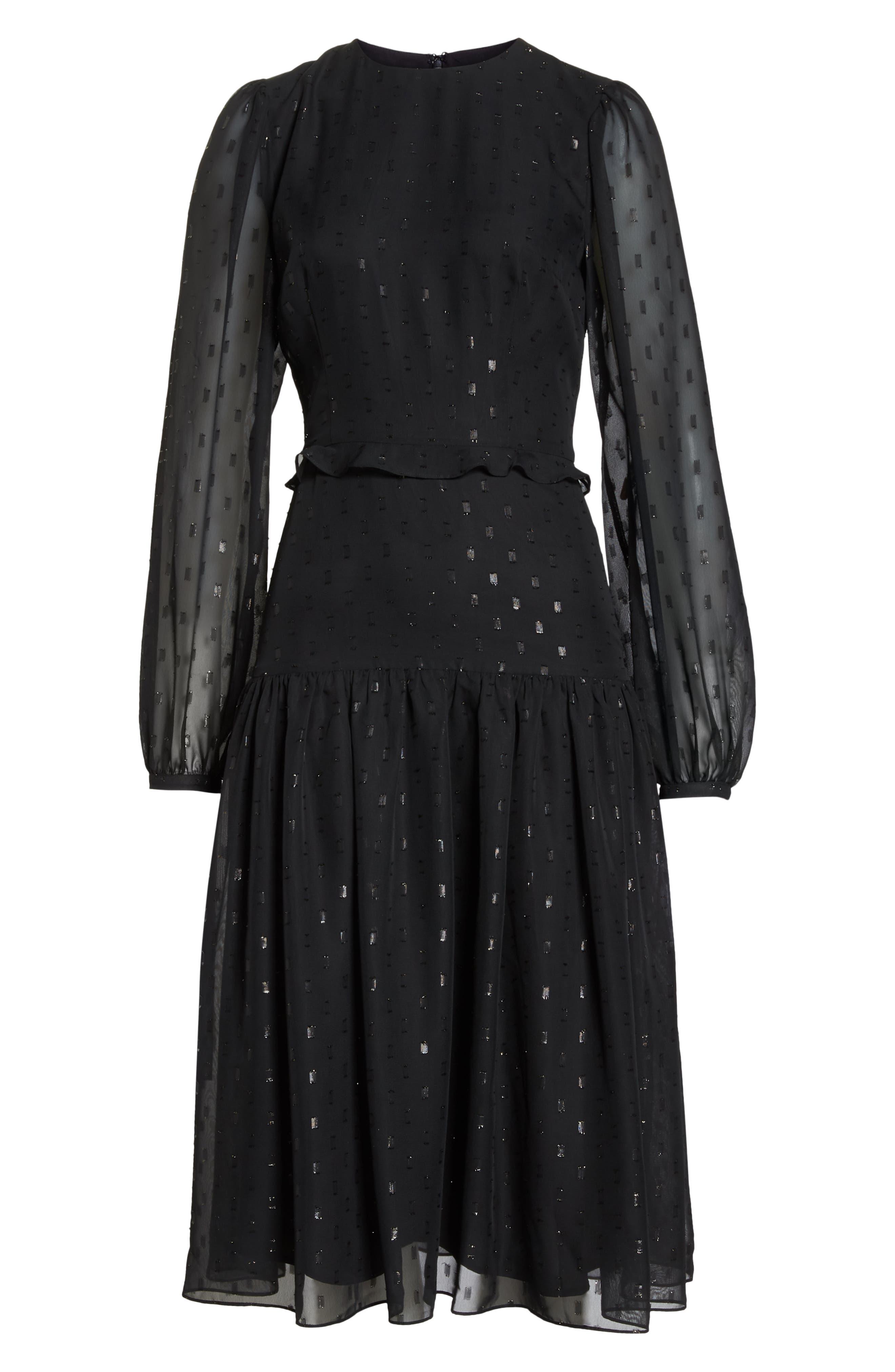 Fil Coupé Midi Dress,                             Alternate thumbnail 12, color,                             BLACK
