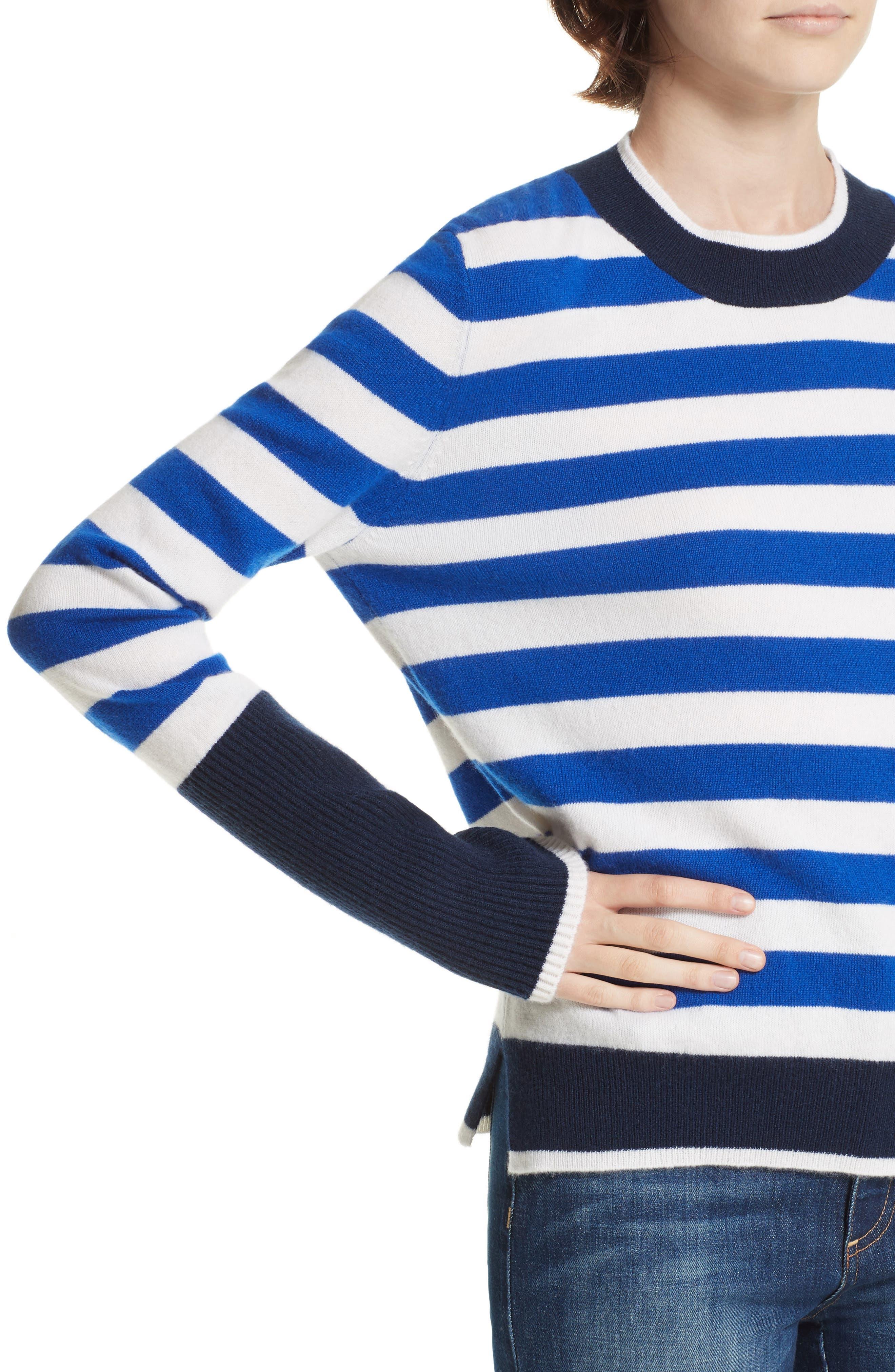 L'Universite Cashmere Sweater,                             Alternate thumbnail 4, color,                             BRIGHT BLUE/ CREAM/ NAVY
