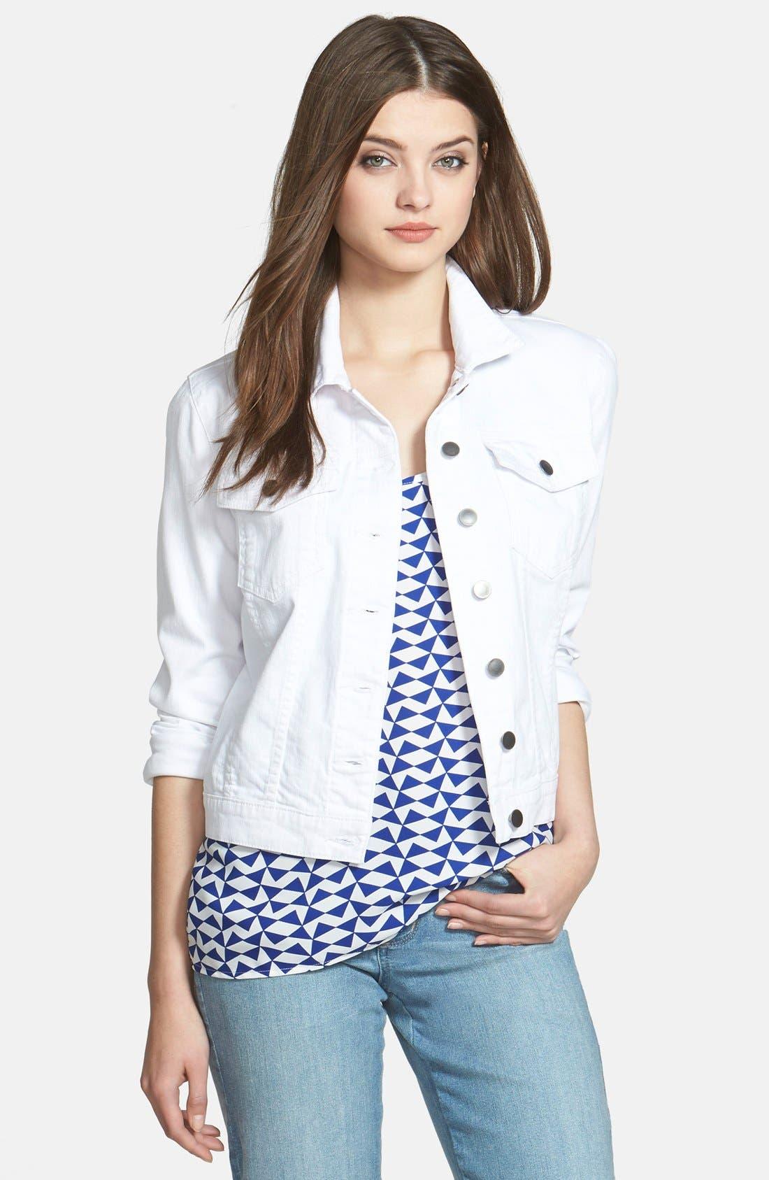 'Helena' Denim Jacket,                         Main,                         color, OPTIC WHITE