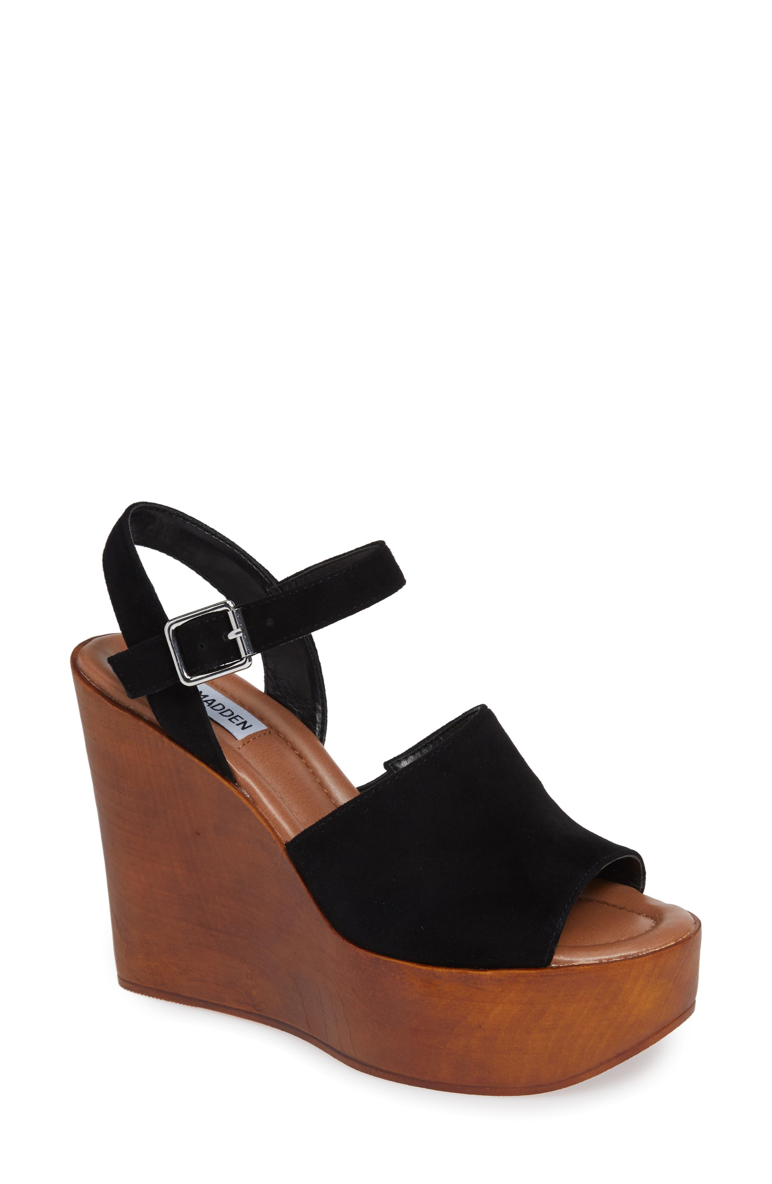 Bellini Wedge Sandal,                             Main thumbnail 1, color,                             BLACK SUEDE