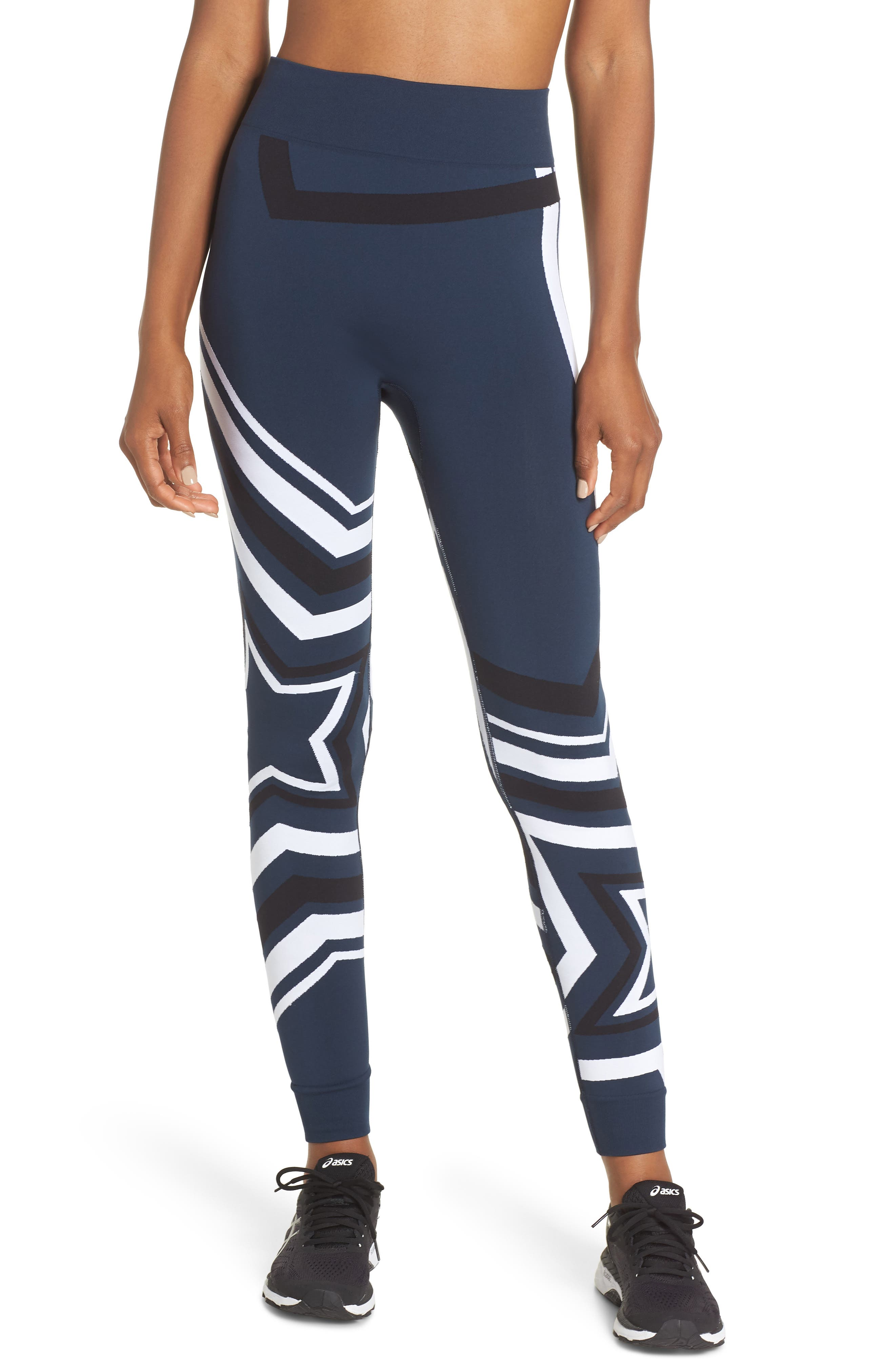 Star Graphic Seamless Leggings,                         Main,                         color, BEETLE BLUE STAR JACQUARD
