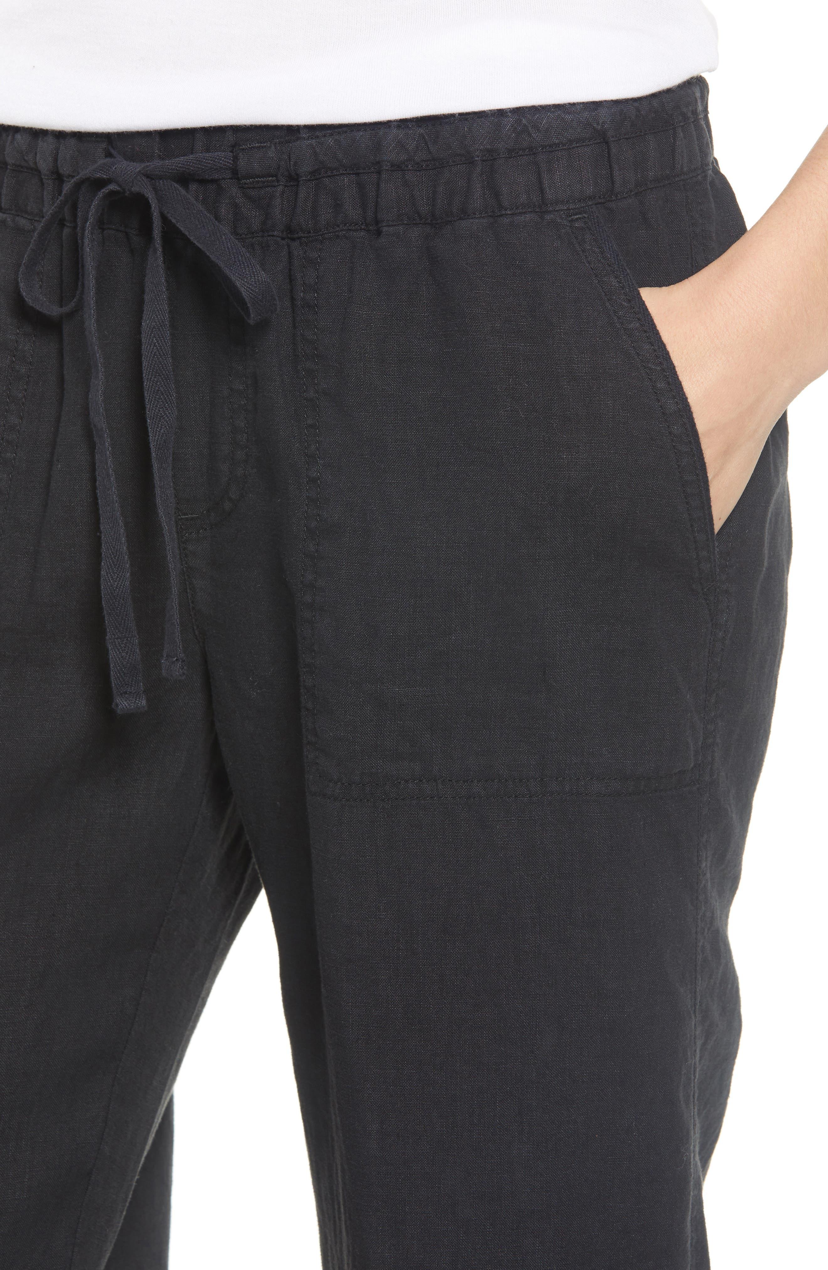 Linen Pants,                             Alternate thumbnail 4, color,                             BLACK