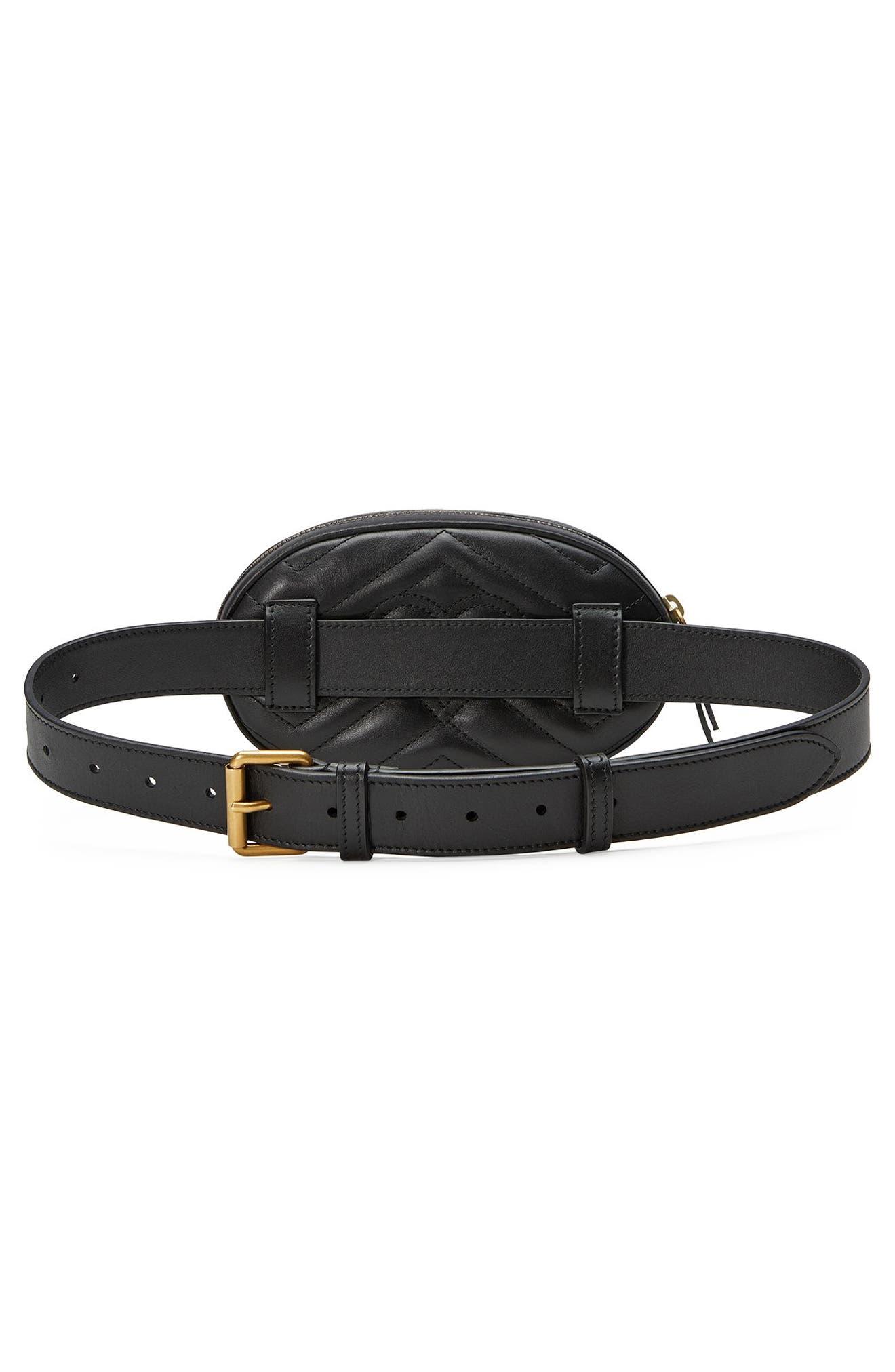 GG Marmont 2.0 Animal Stud Matelassé Leather Belt Bag,                             Alternate thumbnail 2, color,                             001