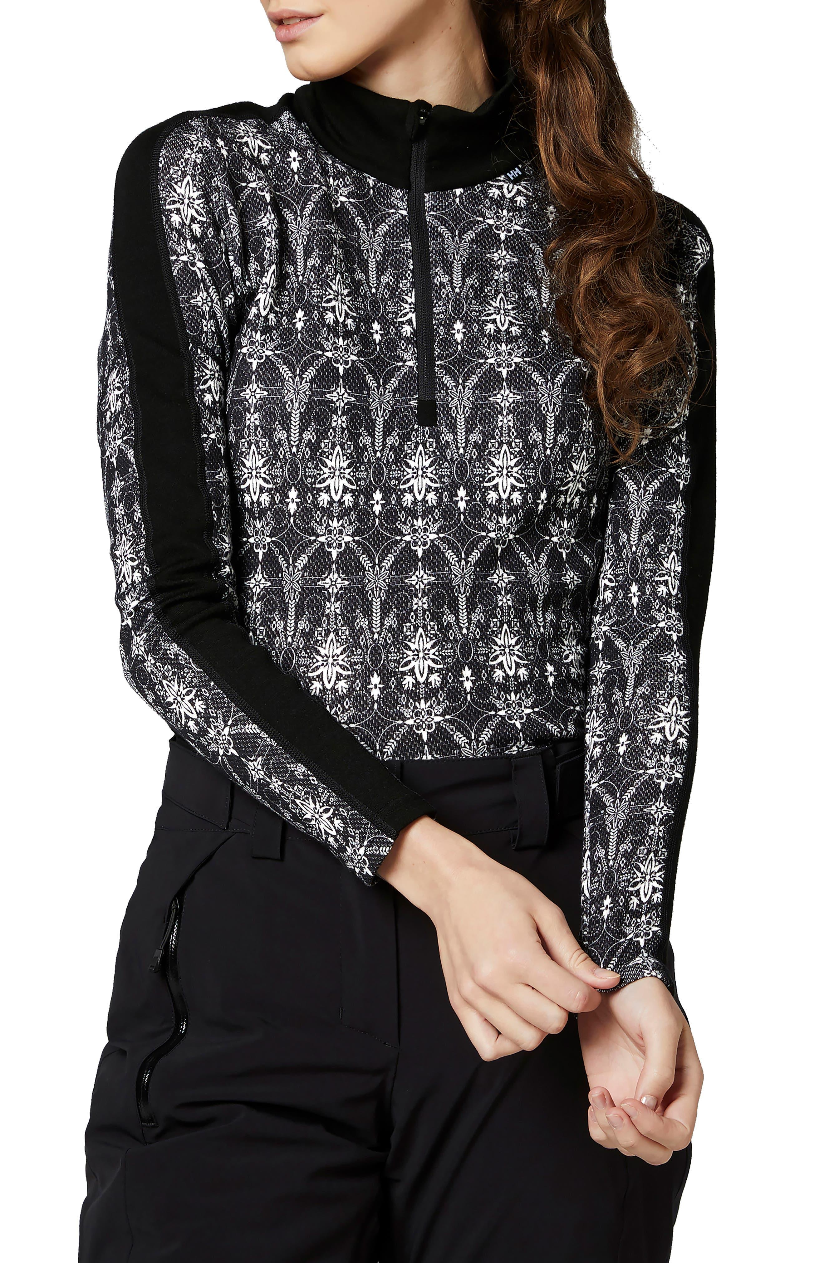 HELLY HANSEN Lifa Merino Wool Half Zip Pullover in Black/ Frost Print