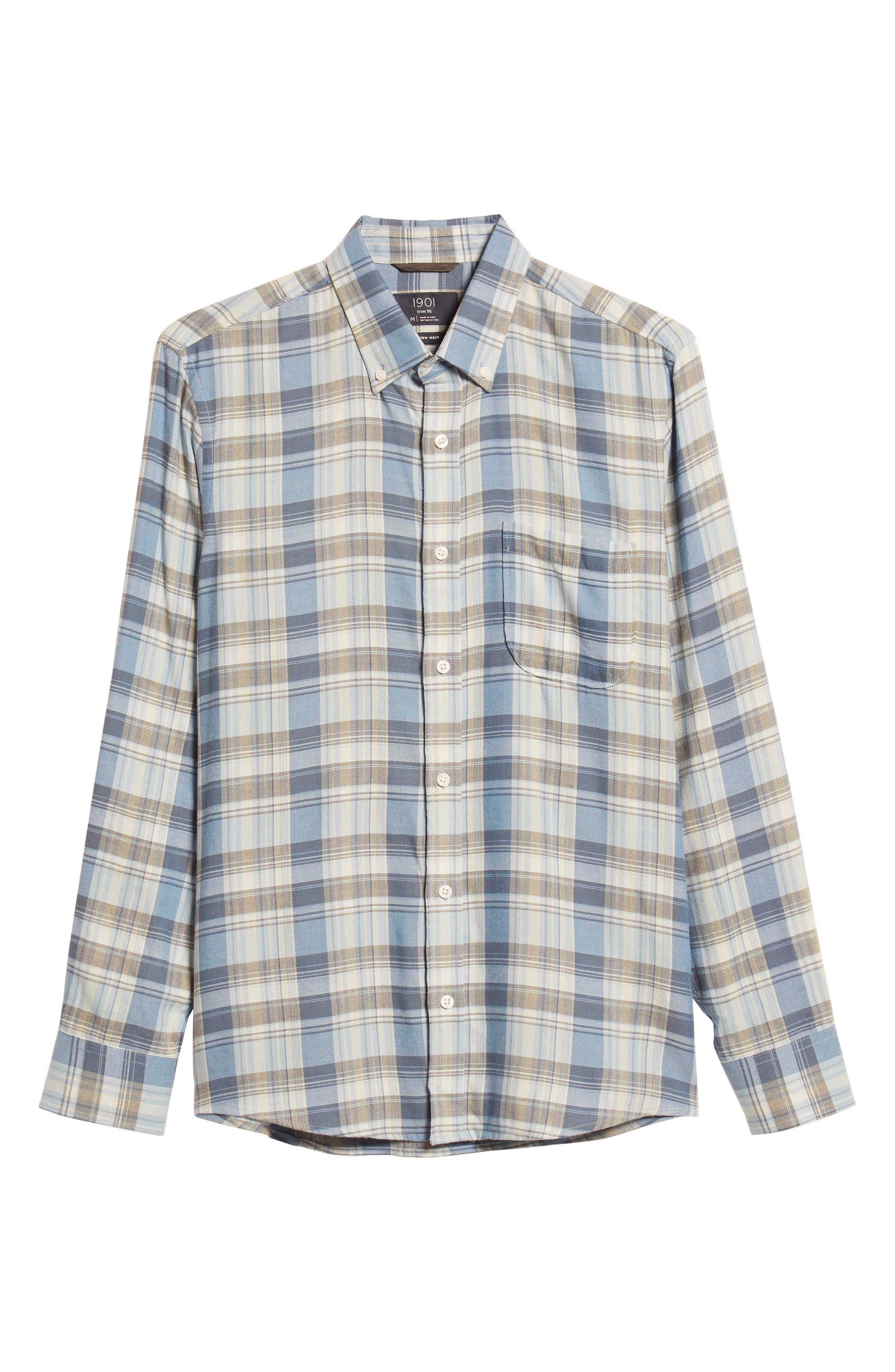 Slim Fit Plaid Sport Shirt,                             Alternate thumbnail 5, color,                             BLUE CHAMBRAY BLUE DARK PLAID