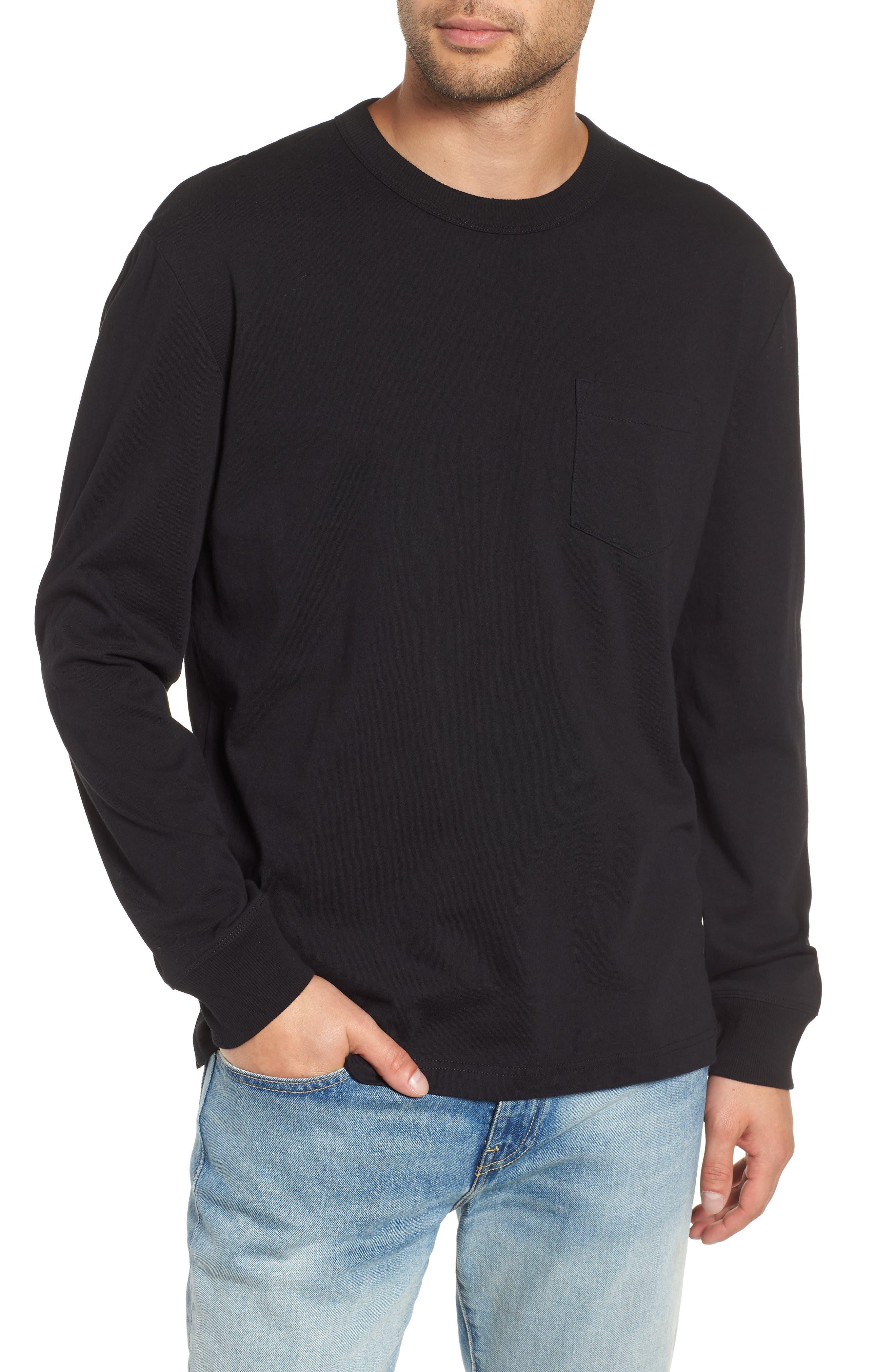 Long Sleeve Pocket T-Shirt,                         Main,                         color, 001