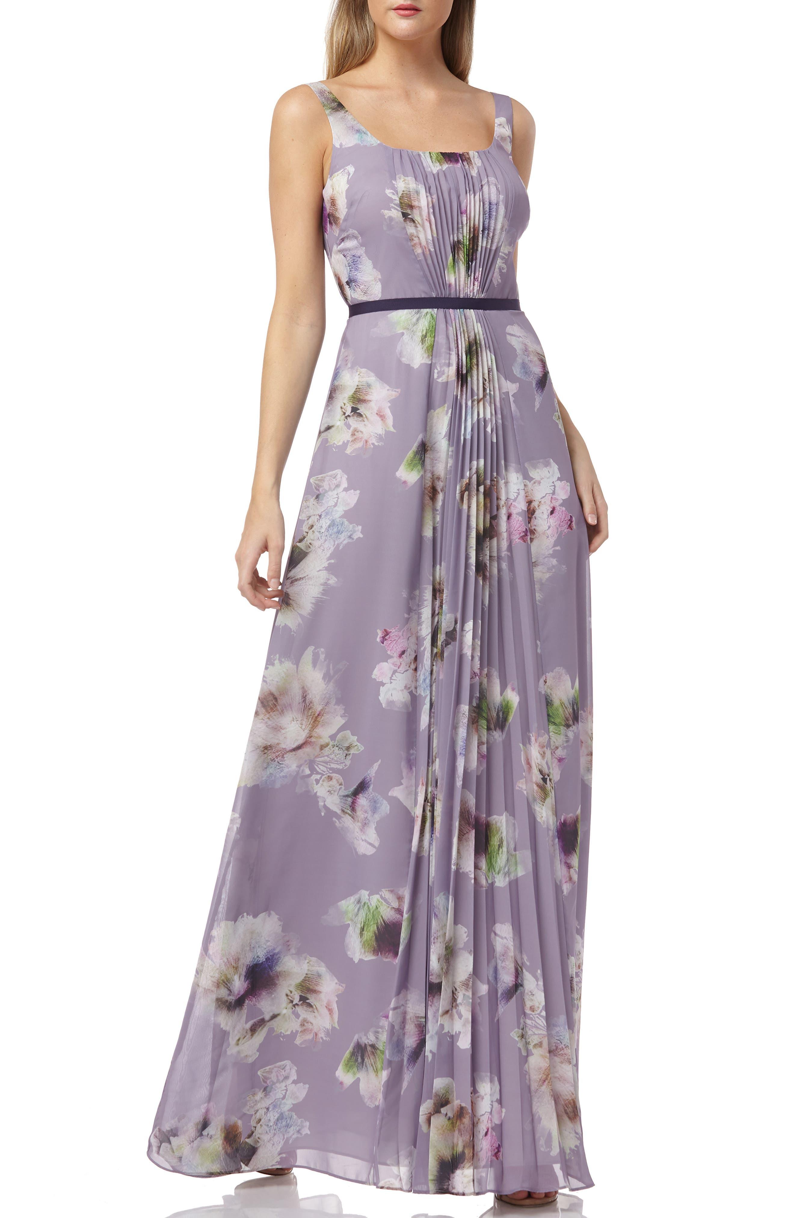 Kay Unger Floral Print Pleated Chiffon Evening Dress, Purple