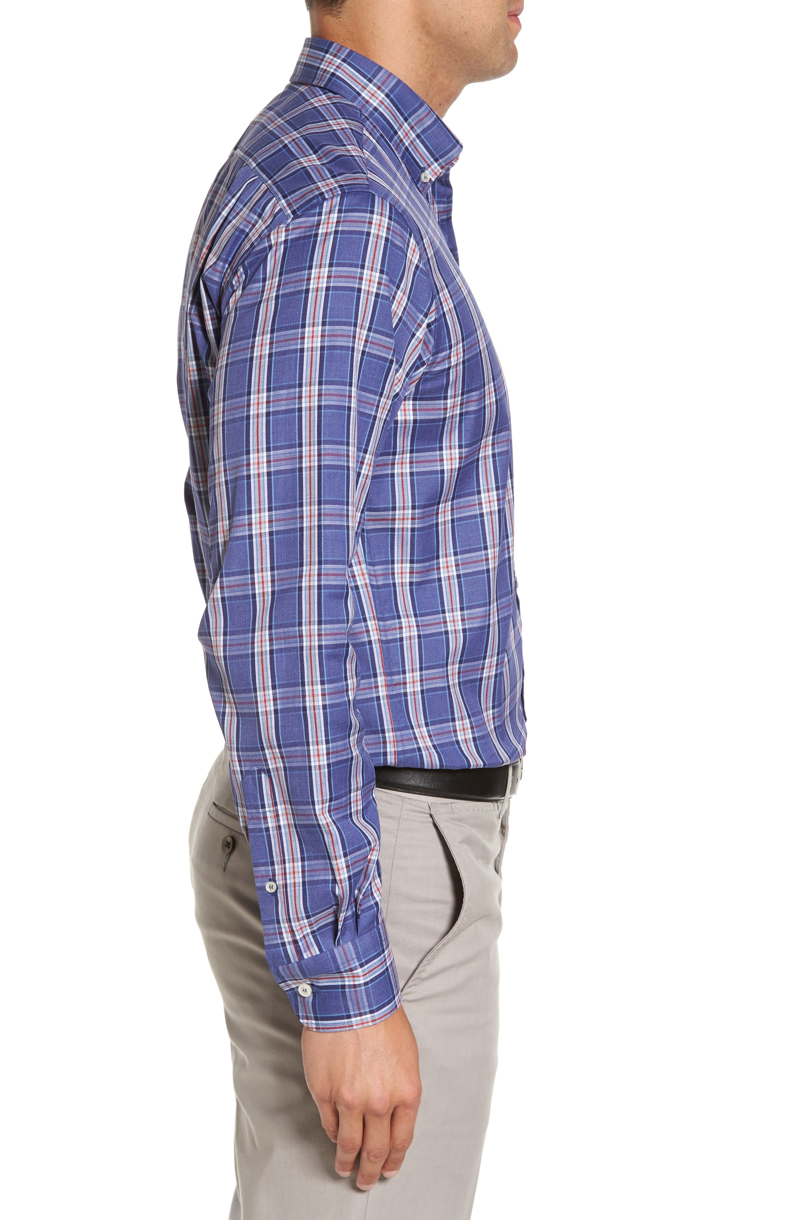 Paul&Shark Plaid Sport Shirt,                             Alternate thumbnail 3, color,                             400
