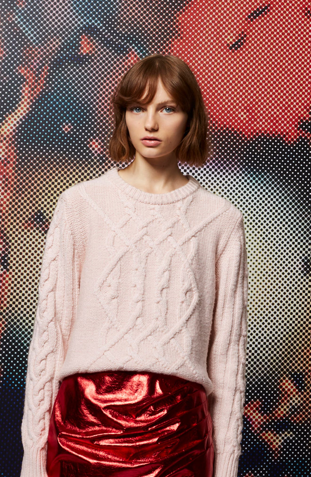 Cable Knit Sweater,                             Alternate thumbnail 5, color,                             650