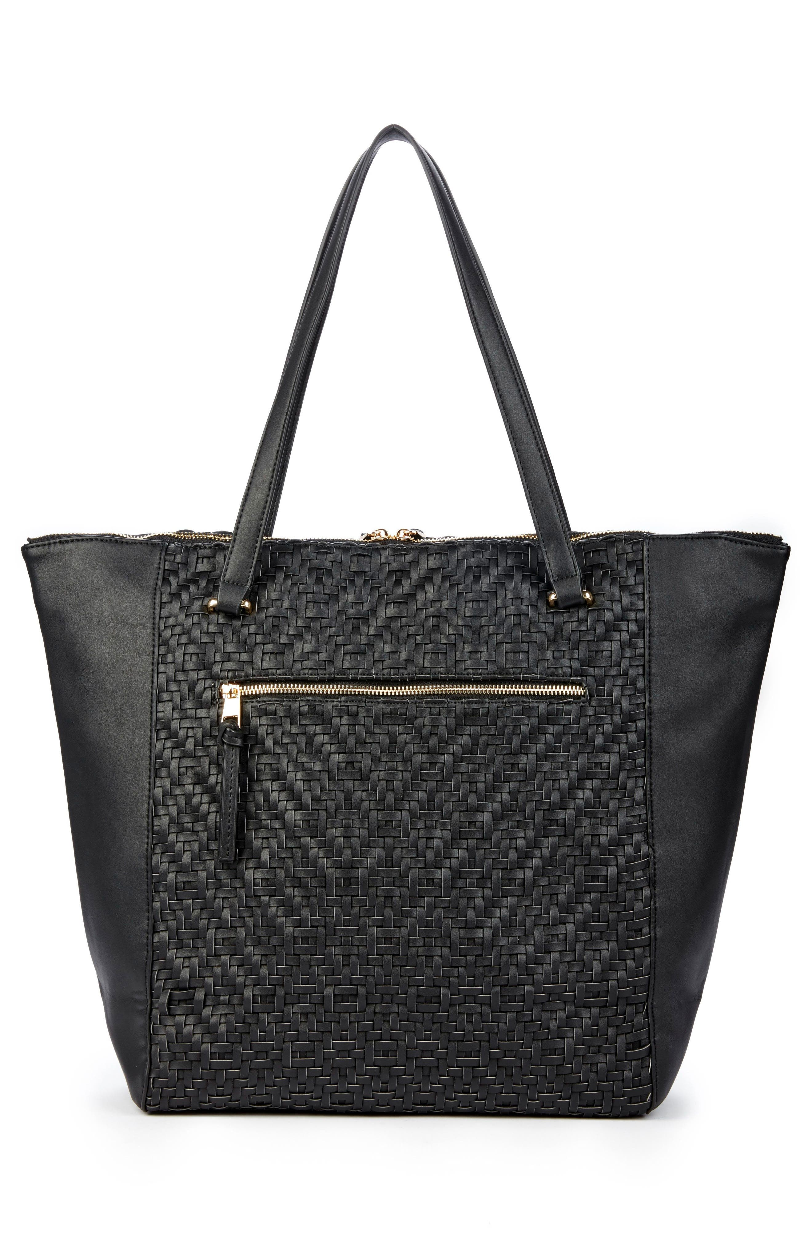 Woven Faux Leather Tote,                             Alternate thumbnail 2, color,                             001