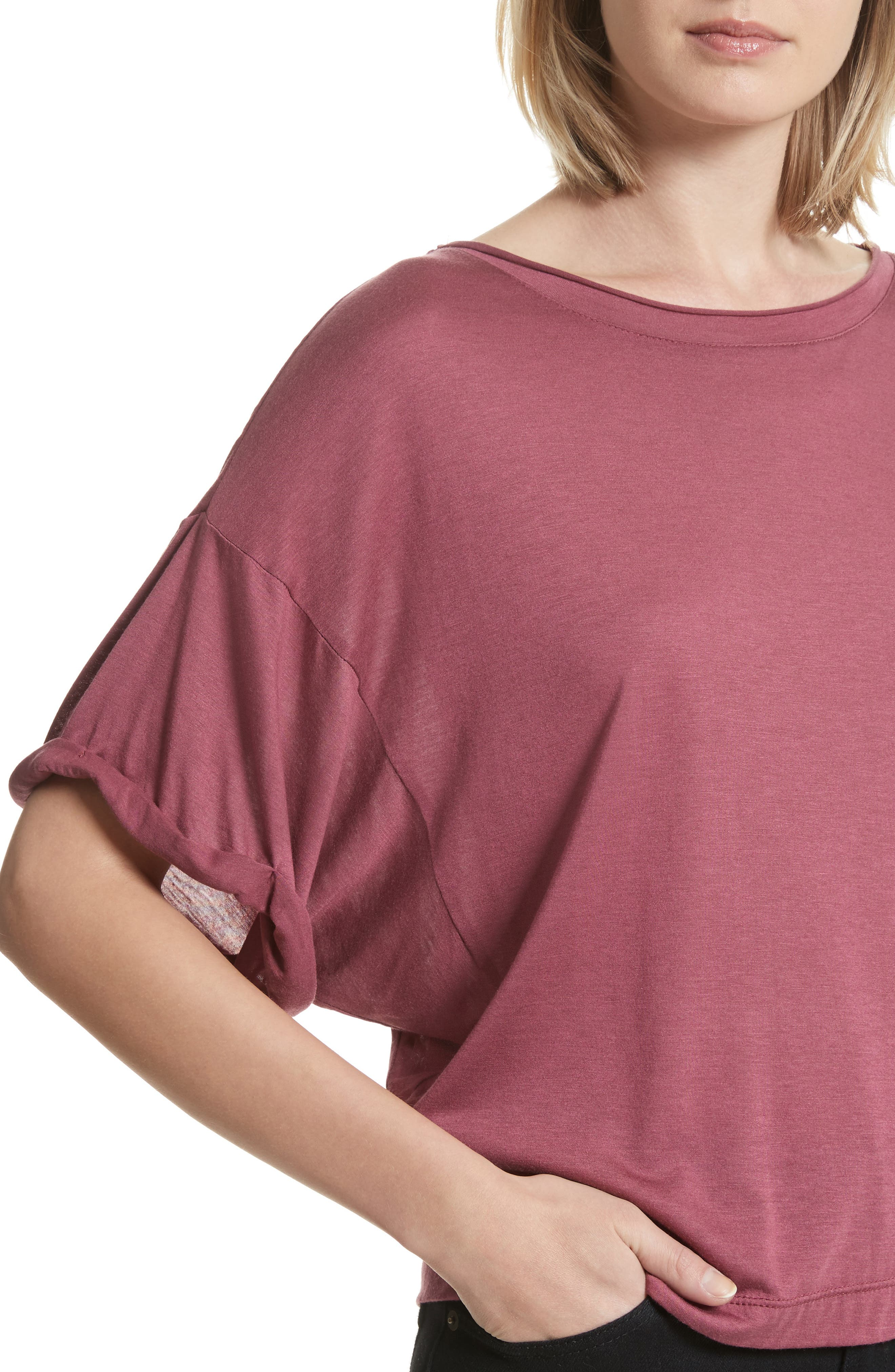 Perfect Boatneck Tee,                             Alternate thumbnail 4, color,