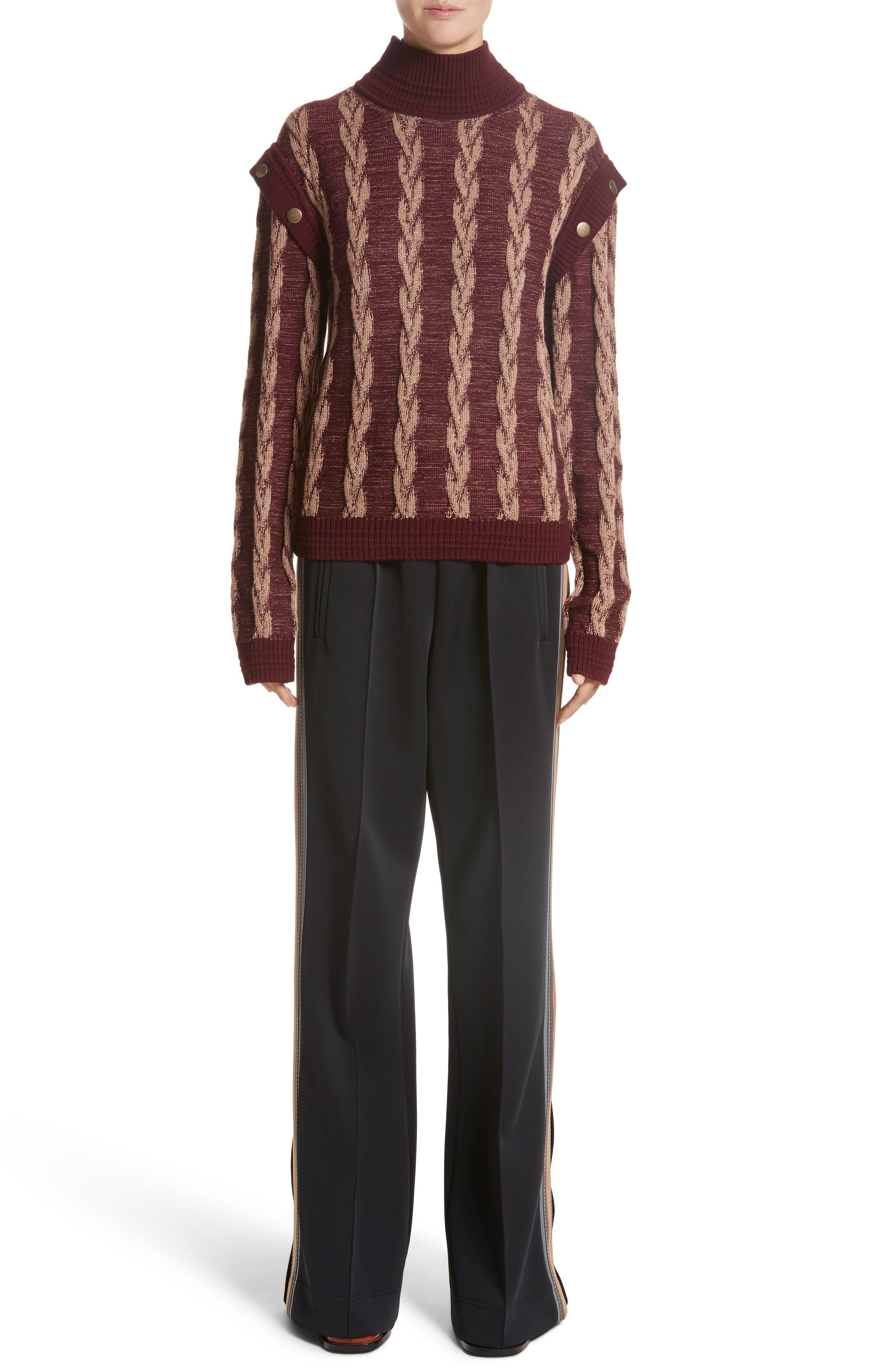 Cable Knit Turtleneck Sweater,                             Alternate thumbnail 7, color,                             930