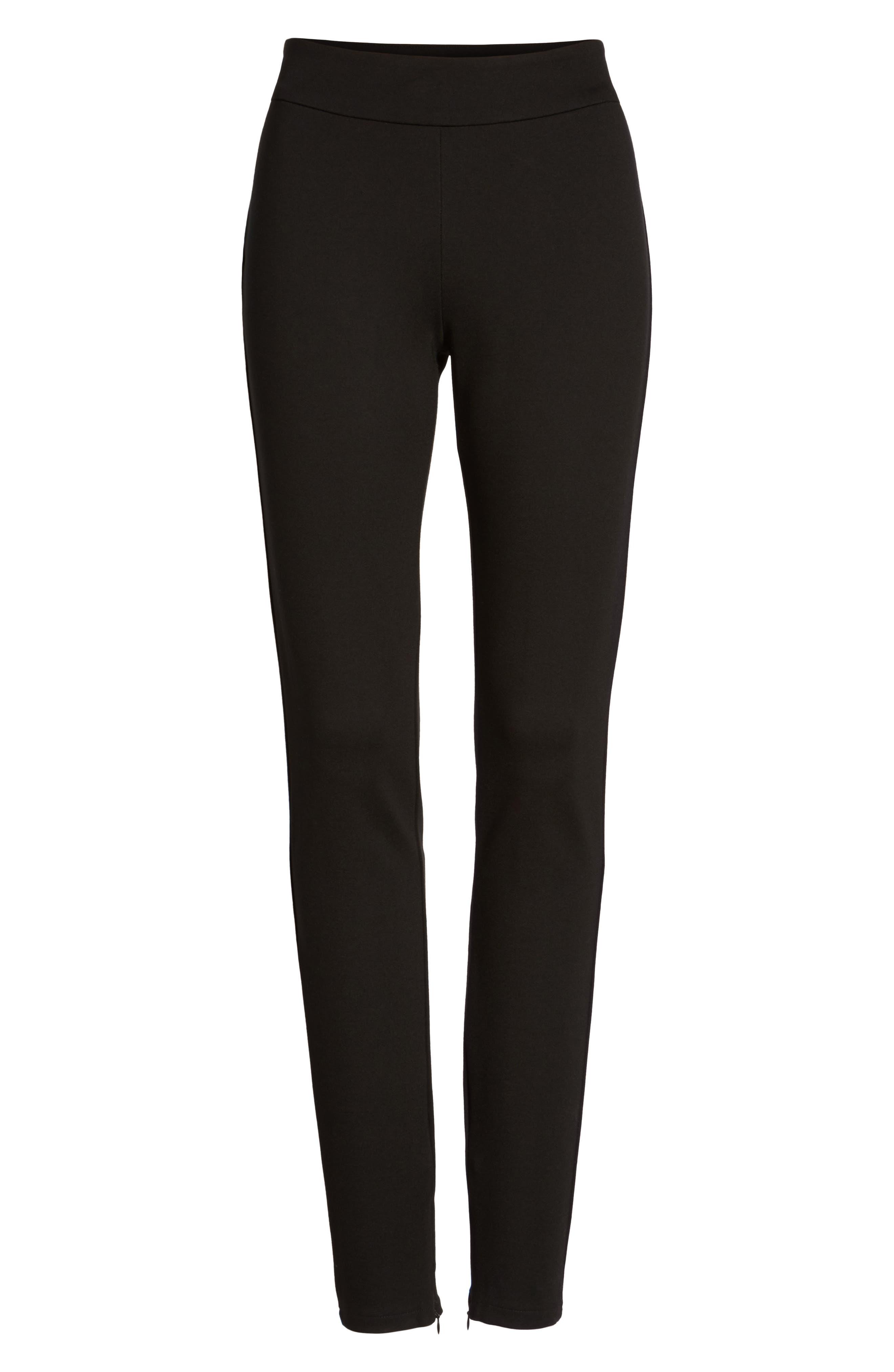 Ankle Zip Slim Ponte Pants,                             Alternate thumbnail 6, color,                             002
