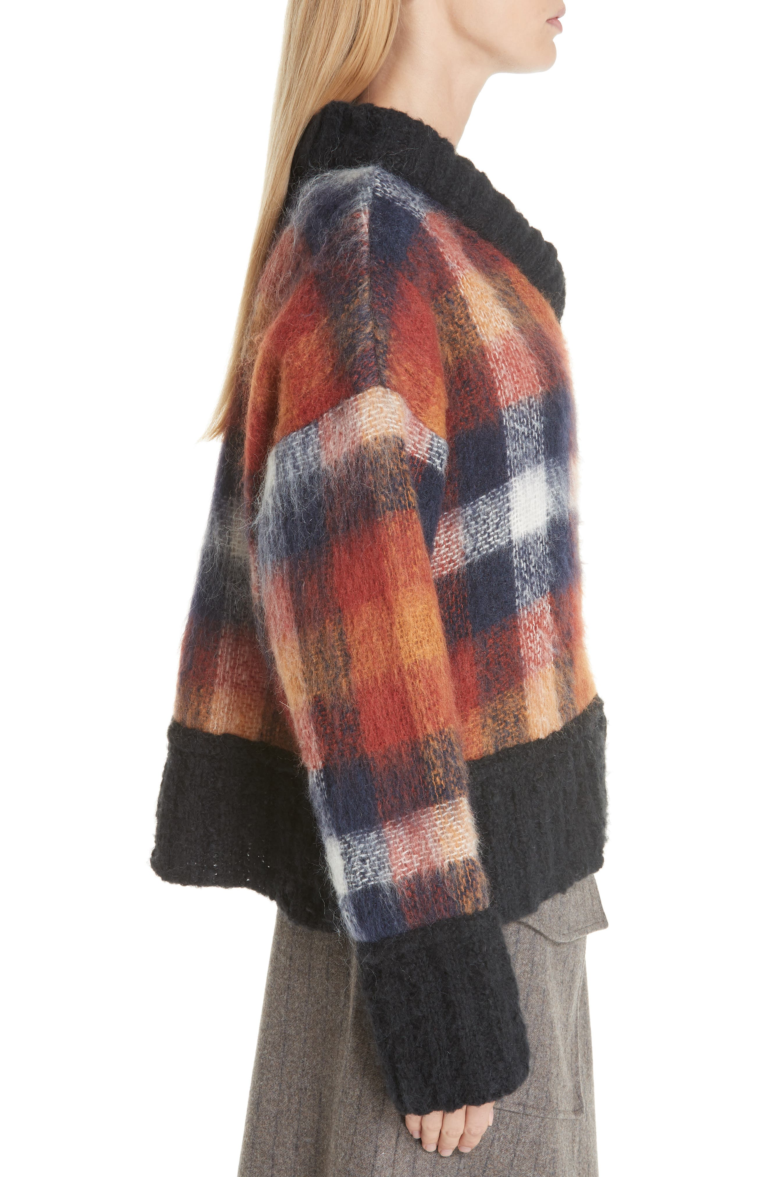 Maryam Mohair & Wool Blend Sweater,                             Alternate thumbnail 3, color,                             PLAID MULTI