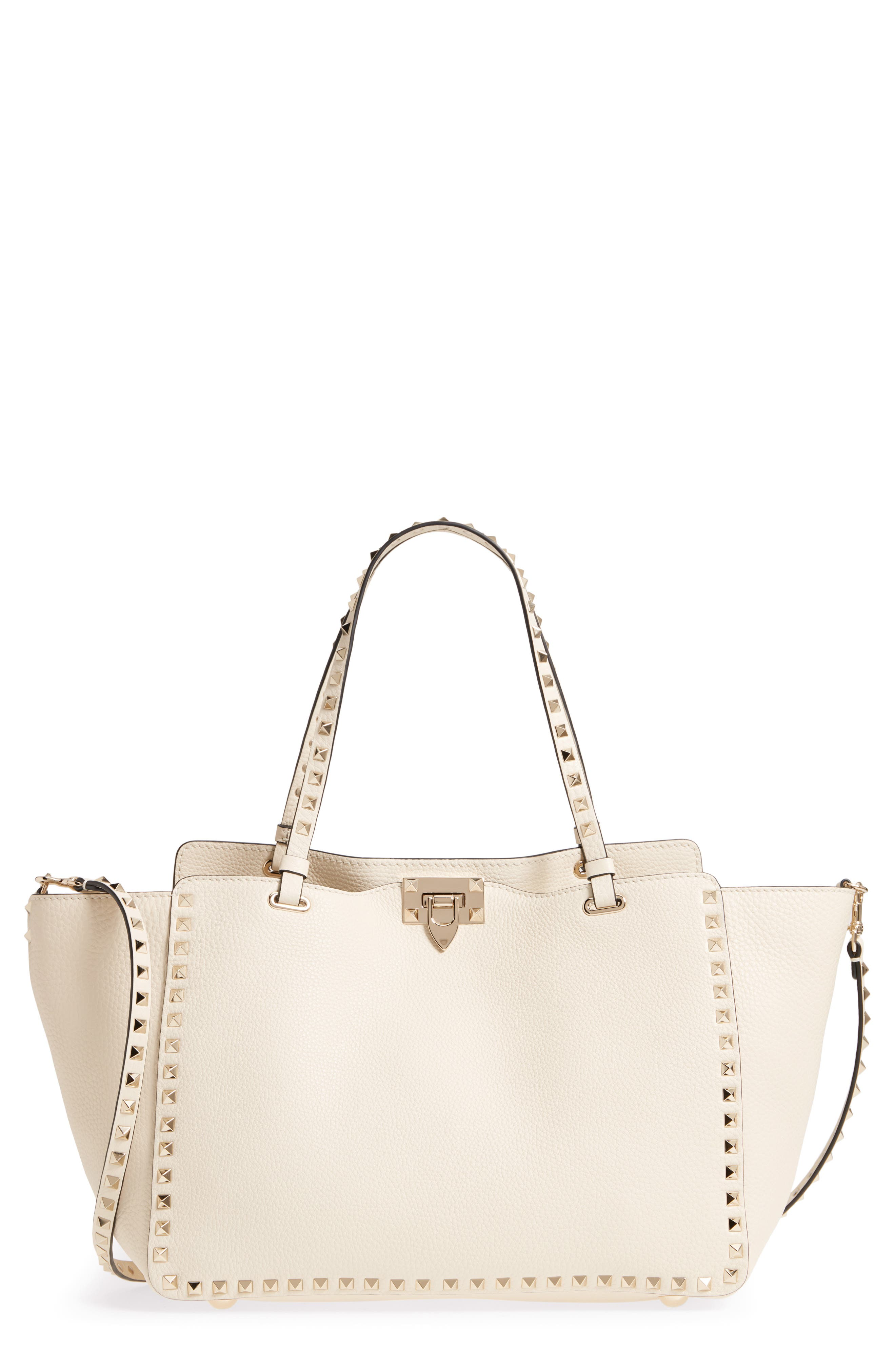 Medium Rockstud Leather Double Handle Tote,                         Main,                         color, IVORY