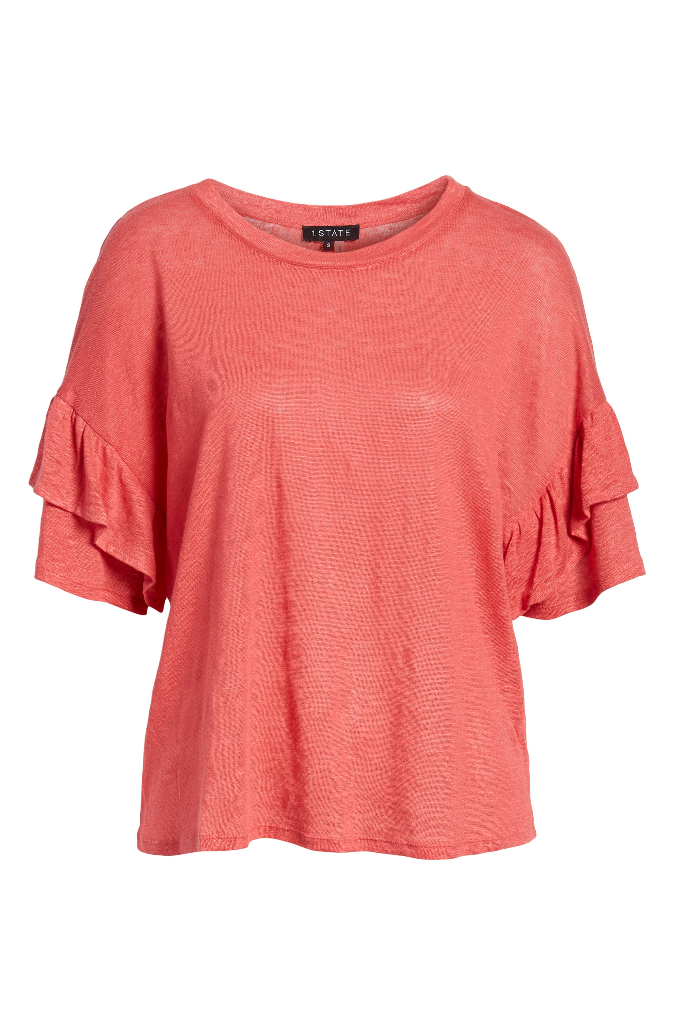 Ruffle Linen Tee,                             Alternate thumbnail 7, color,                             DARK CORAL REEF