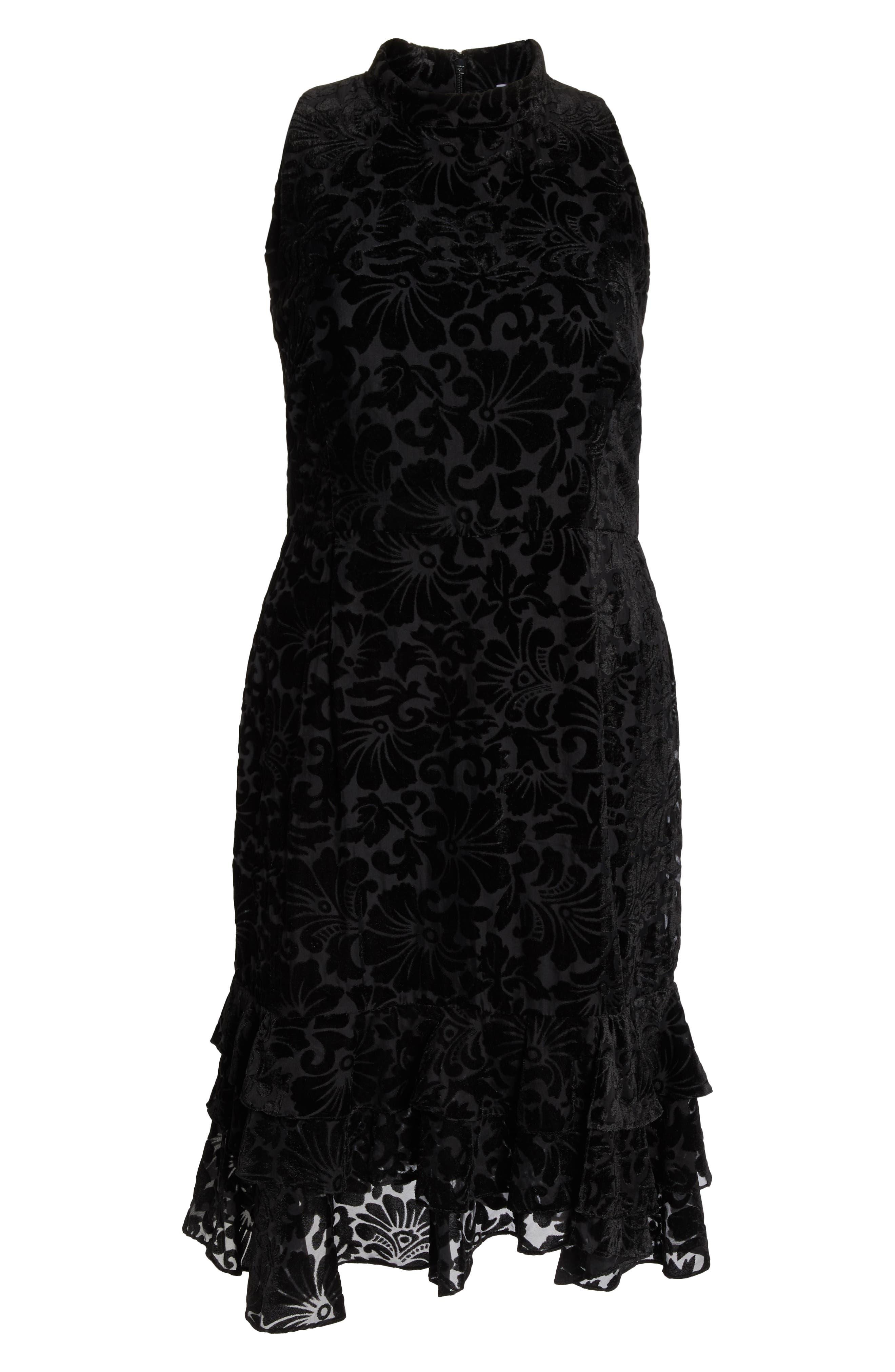 CHELSEA28,                             Burnout Velvet Sheath Dress,                             Alternate thumbnail 7, color,                             001