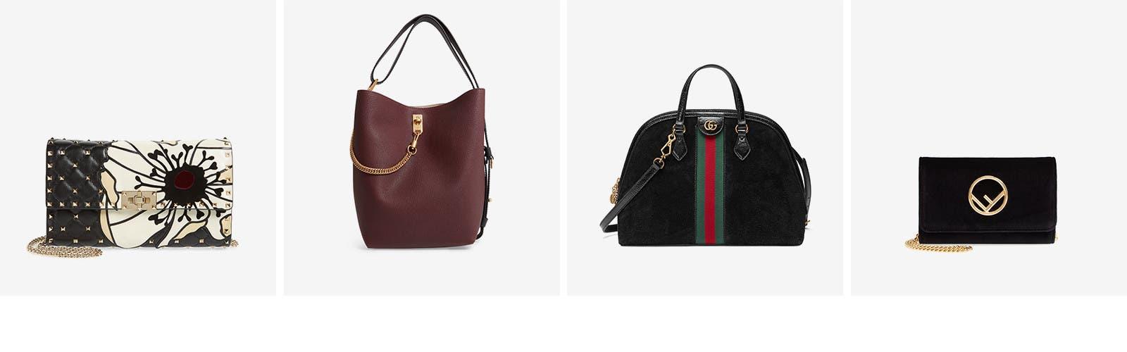 Designer crossbodies, totes, satchels and more handbags and wallets.