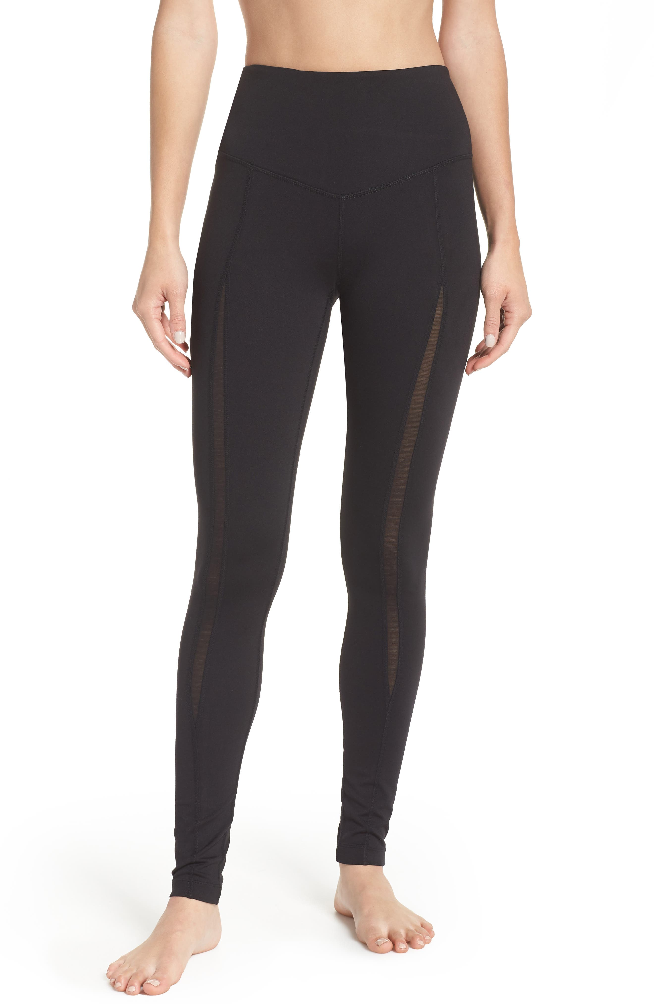 Reinvent Recycled High Waist Leggings,                             Main thumbnail 1, color,                             BLACK