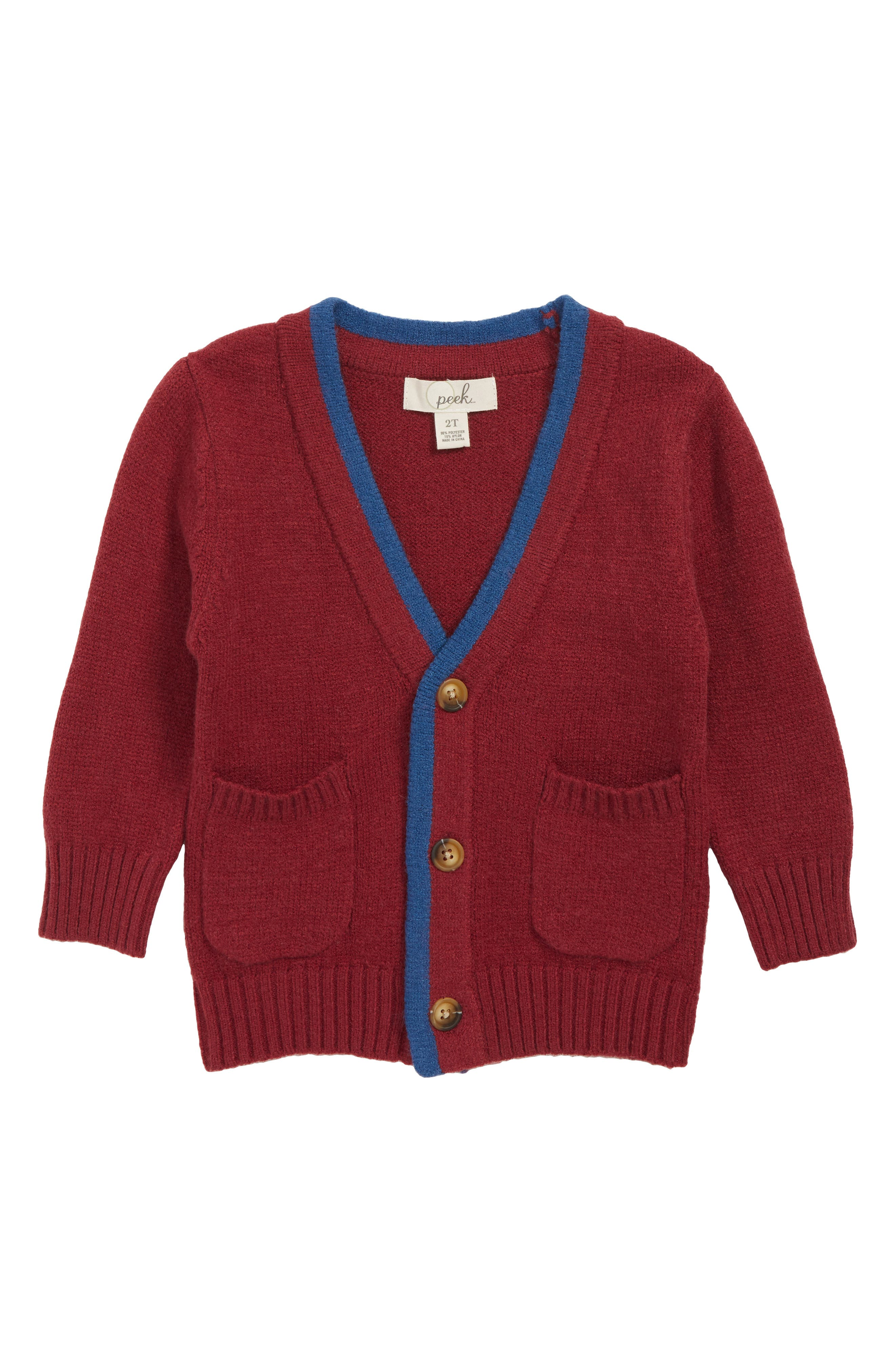 Kids 1950s Clothing & Costumes: Girls, Boys, Toddlers Toddler Boys Peek Preston Cardigan Size 2T - Burgundy $25.20 AT vintagedancer.com