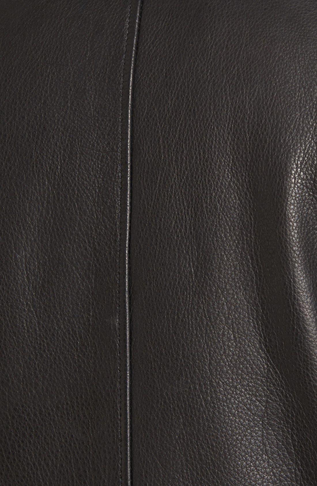 Leather Zip Front Jacket,                             Alternate thumbnail 5, color,                             001