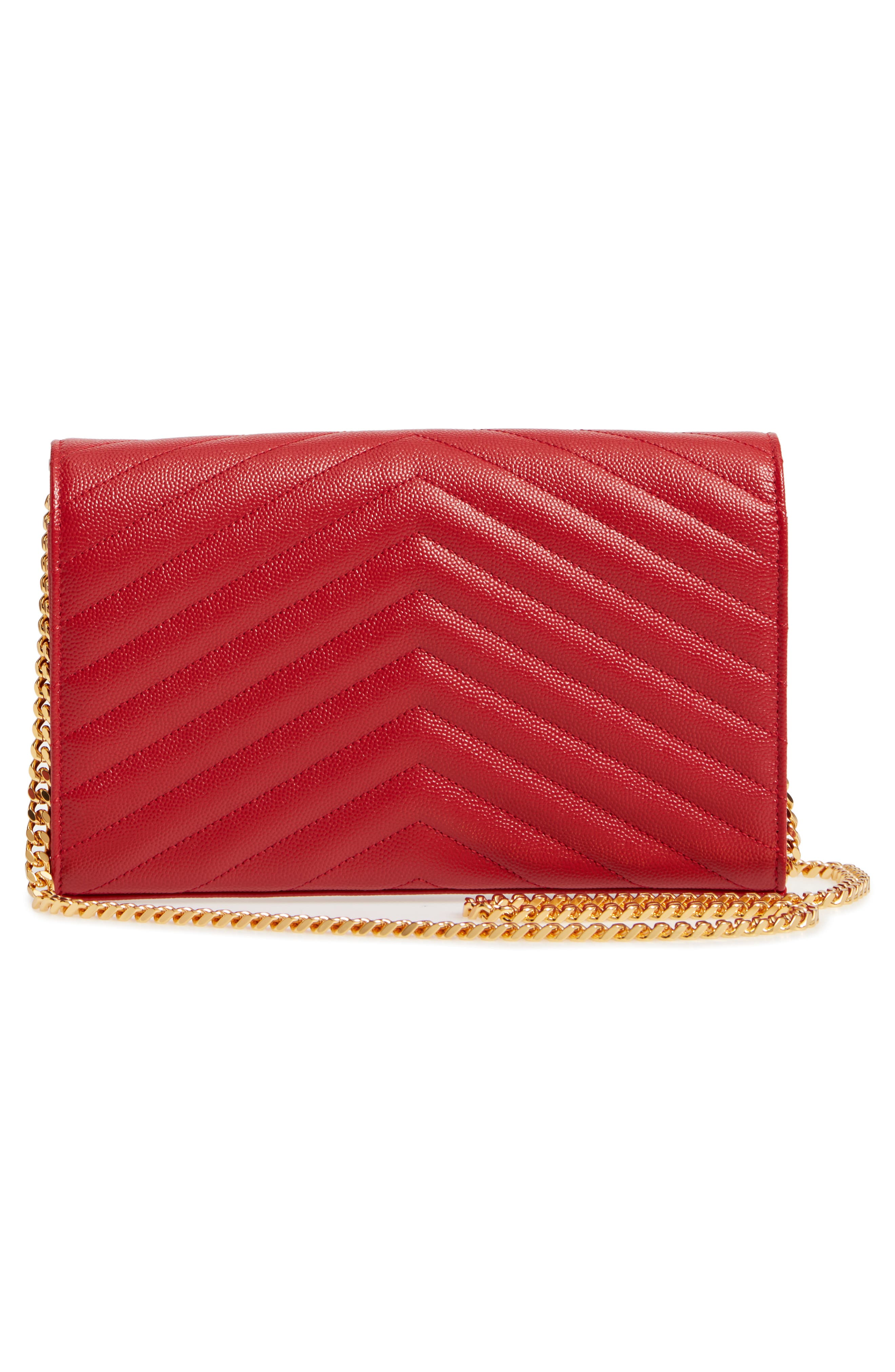 'Large Monogram' Quilted Leather Wallet on a Chain,                             Alternate thumbnail 3, color,                             ROUGE EROS