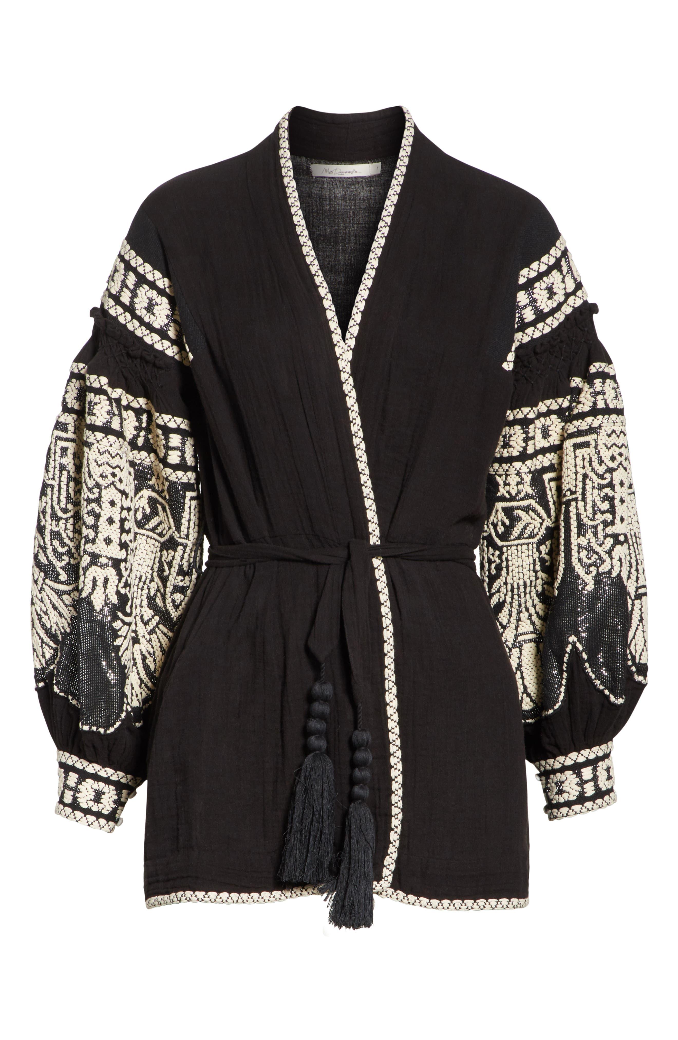 Petrushka Embroidered Jacket,                             Alternate thumbnail 6, color,                             BLACK