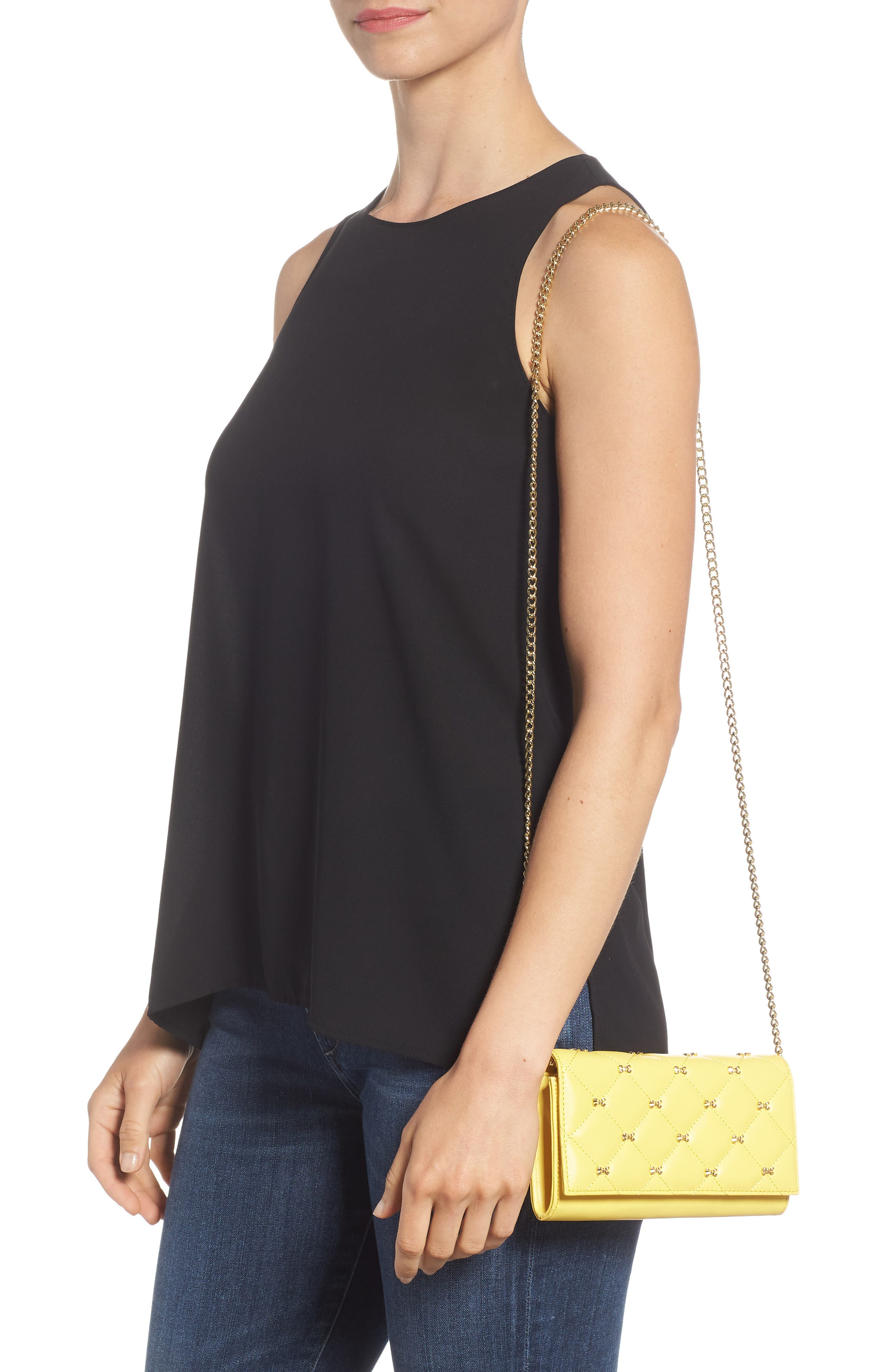 TED BAKER LONDON,                             Quilted Bow Leather Matinée Wallet on a Chain,                             Alternate thumbnail 2, color,                             700