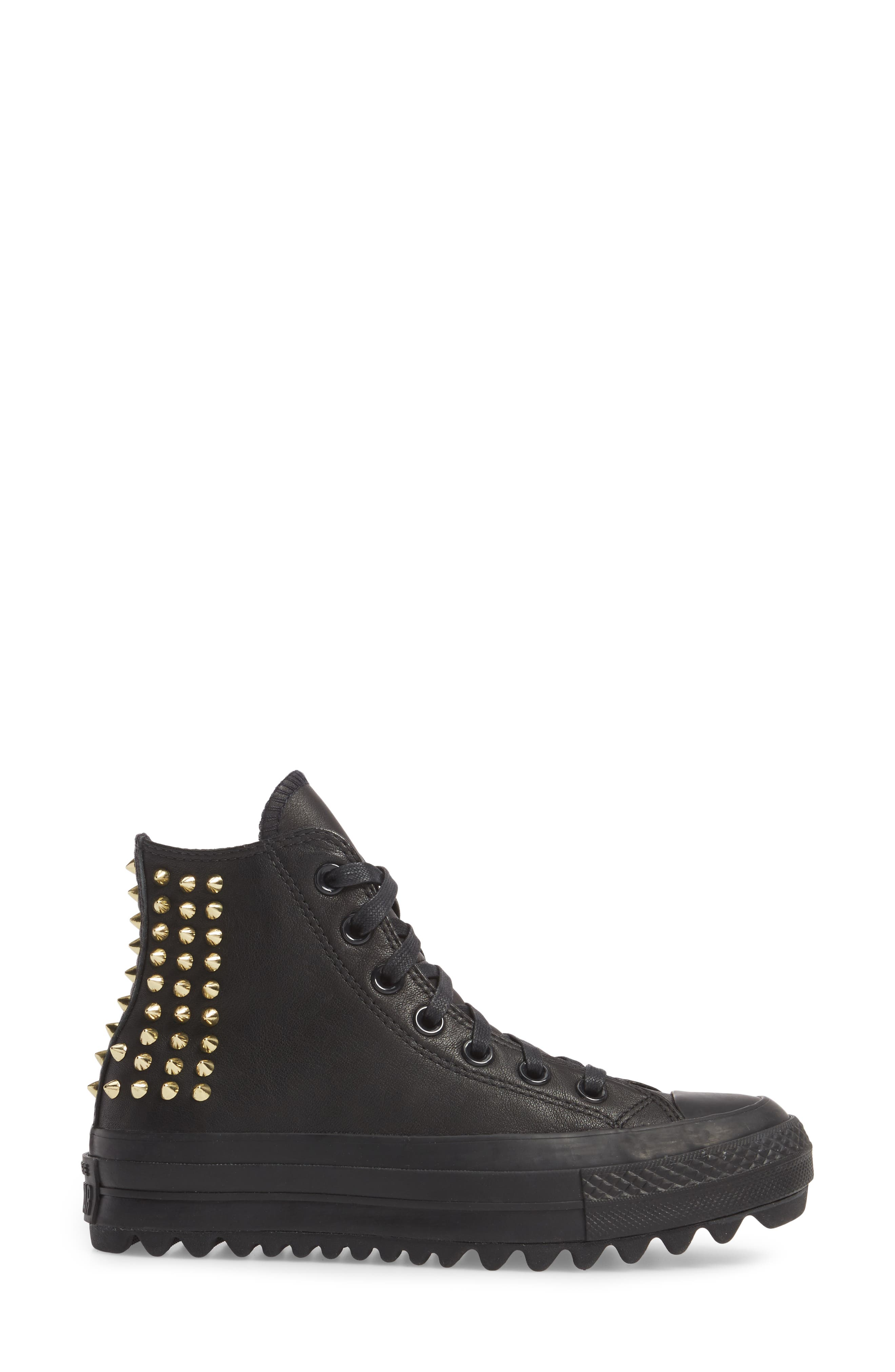 Chuck Taylor<sup>®</sup> All Star<sup>®</sup> Lift Ripple Studded High Top Sneaker,                             Alternate thumbnail 3, color,                             001