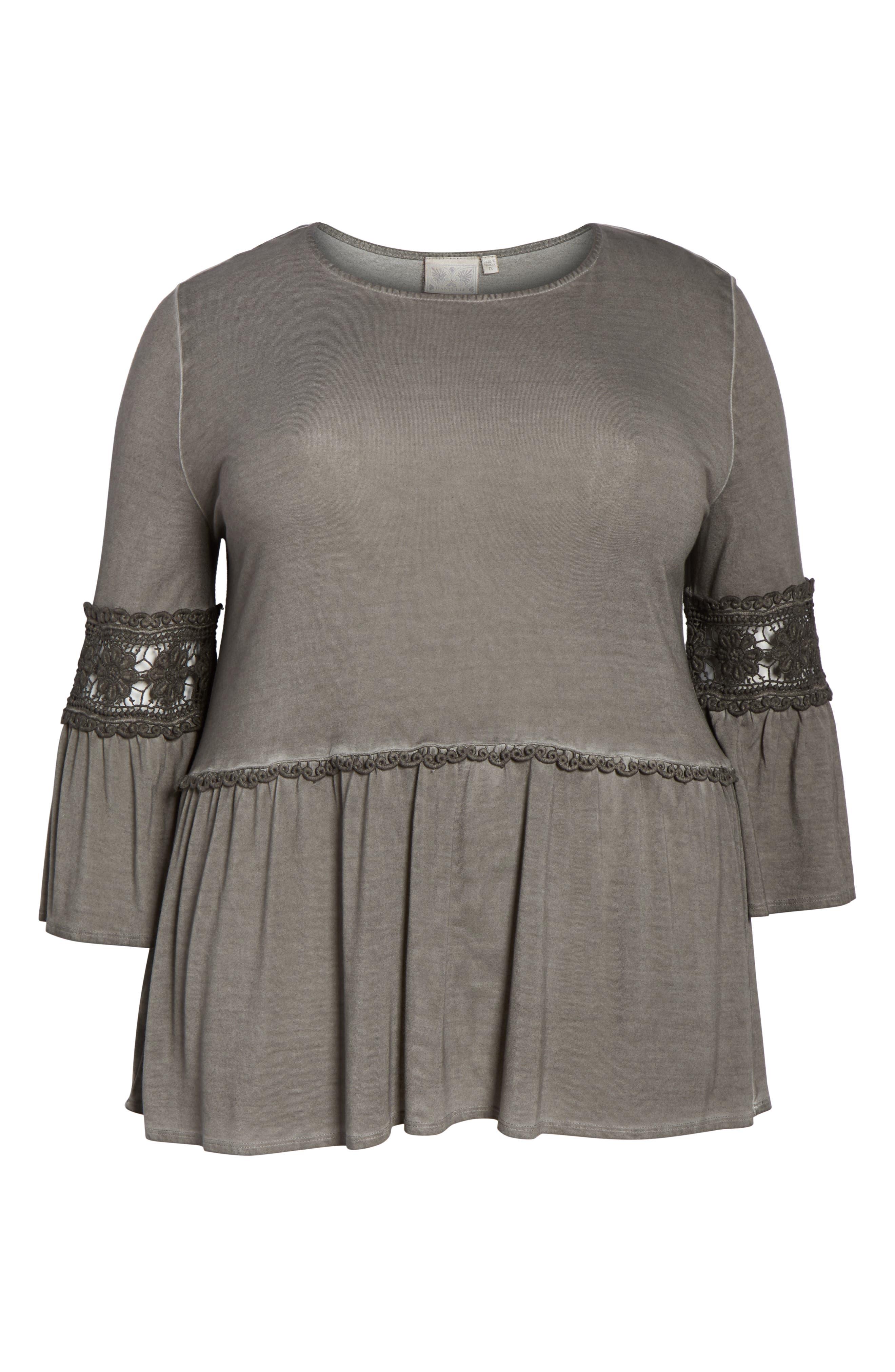 DANTELLE,                             Oil Dye Knit Lace Inset Top,                             Alternate thumbnail 6, color,                             FALCON